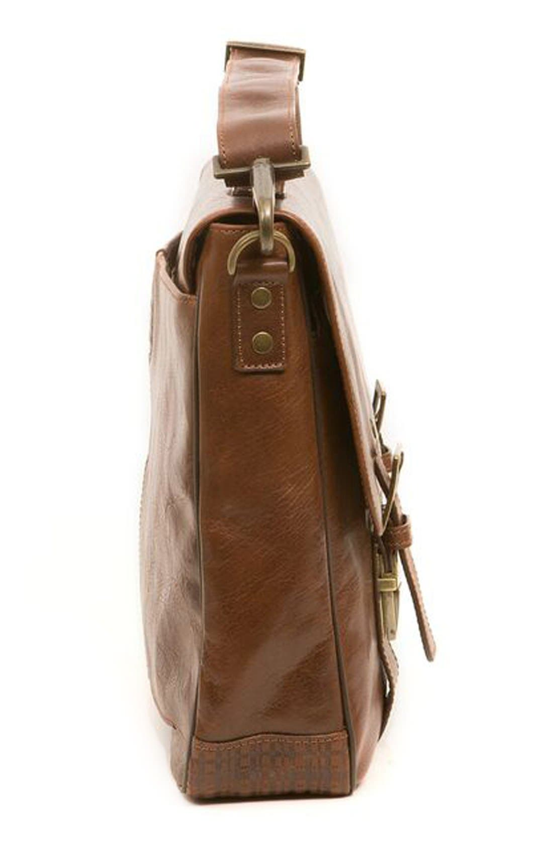 'Becker' Leather Messenger Bag,                             Alternate thumbnail 5, color,                             WHISKEY W/ KHAKI