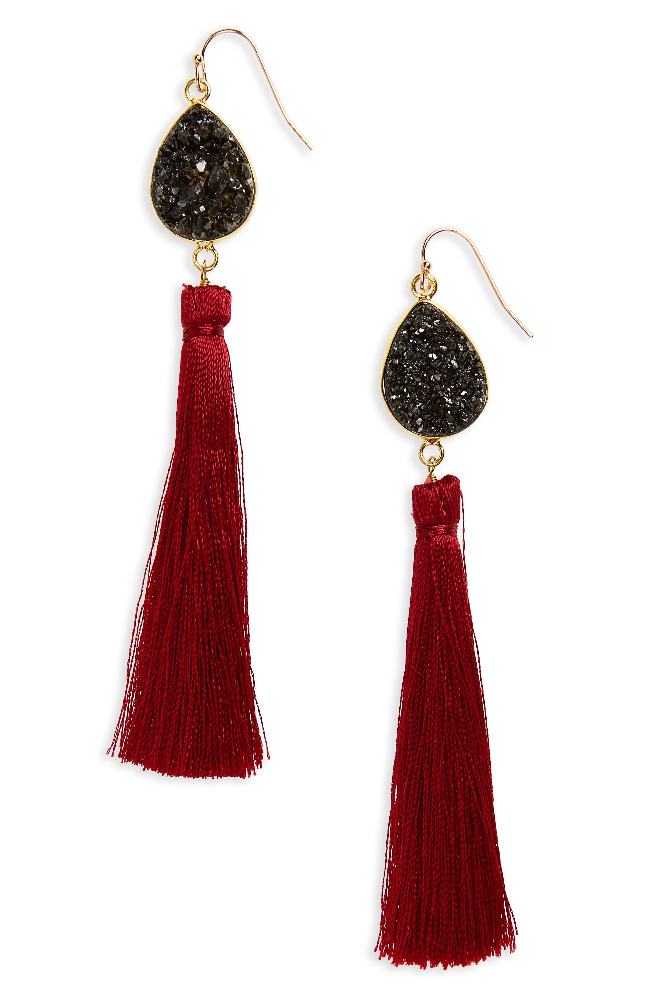 Drusy Tassel Earrings,                             Main thumbnail 1, color,                             930