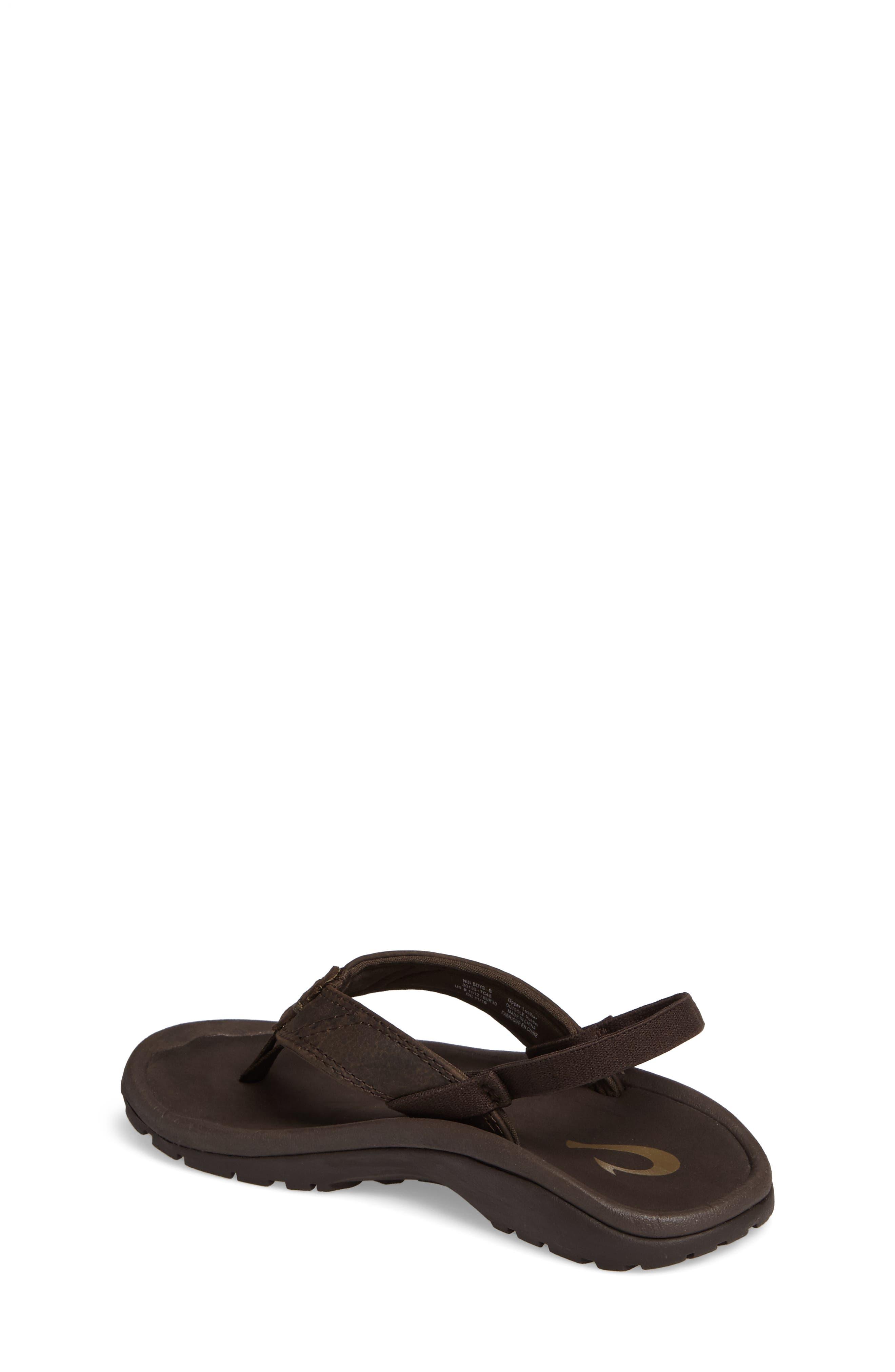 OLUKAI,                             Nui Leather Sandal,                             Alternate thumbnail 2, color,                             SEAL BROWN/ DARK JAVA