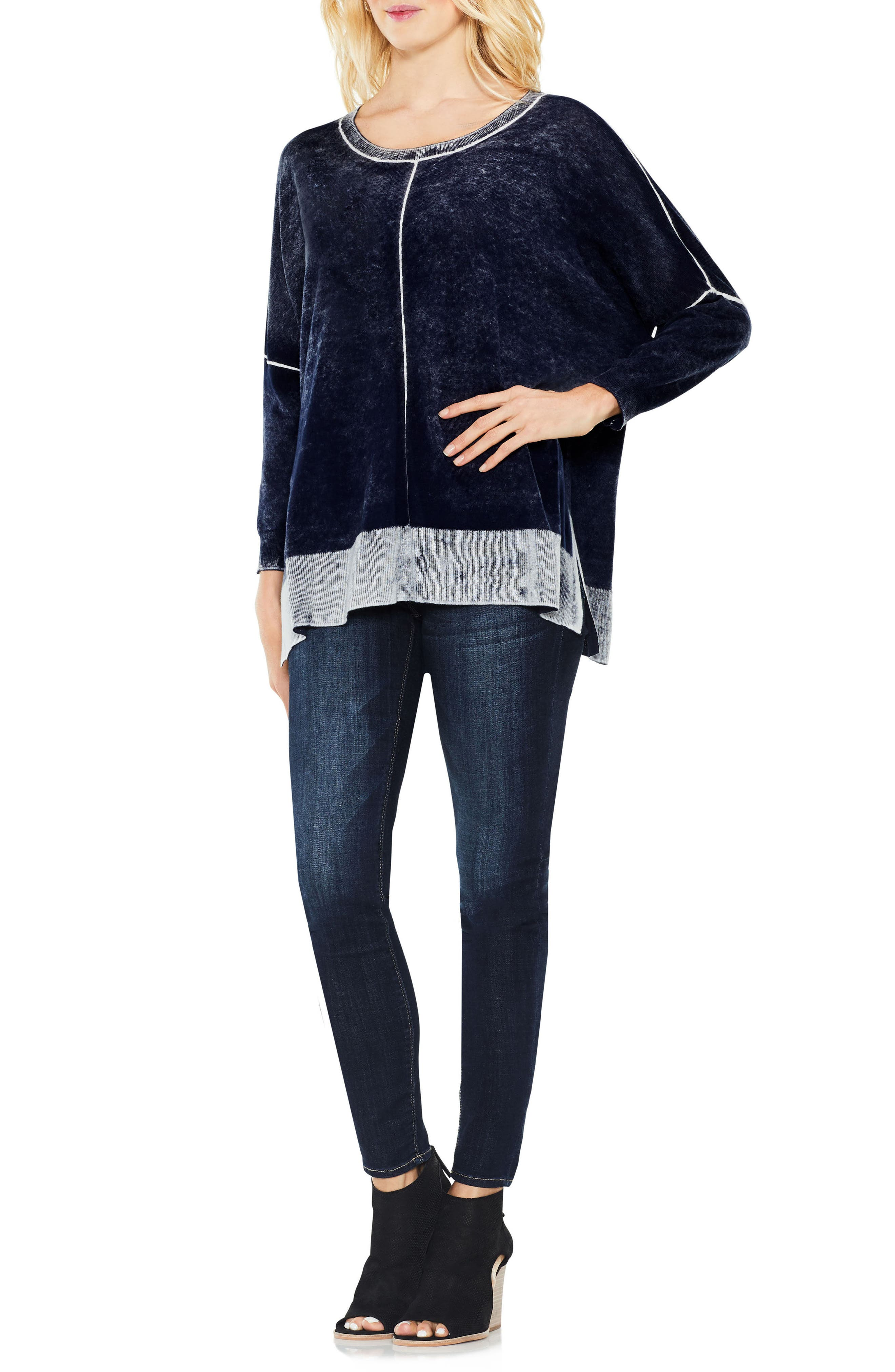 Two by Vince Camuto Inside Out Printed Sweater,                             Alternate thumbnail 4, color,                             BLUE NIGHT