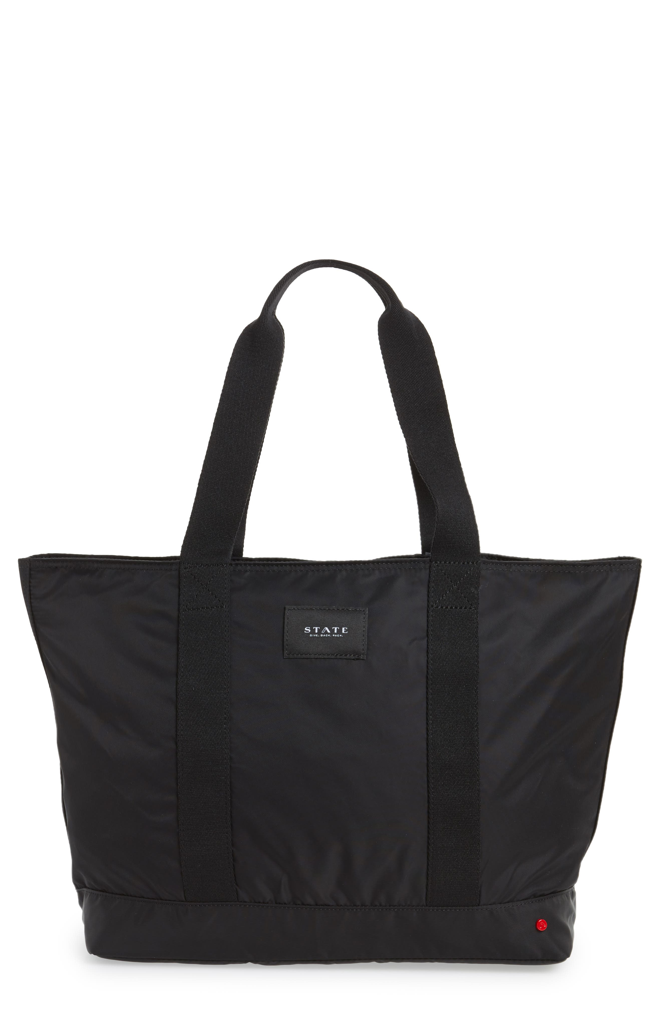 The Heights Nylon Tote,                         Main,                         color, BLACK