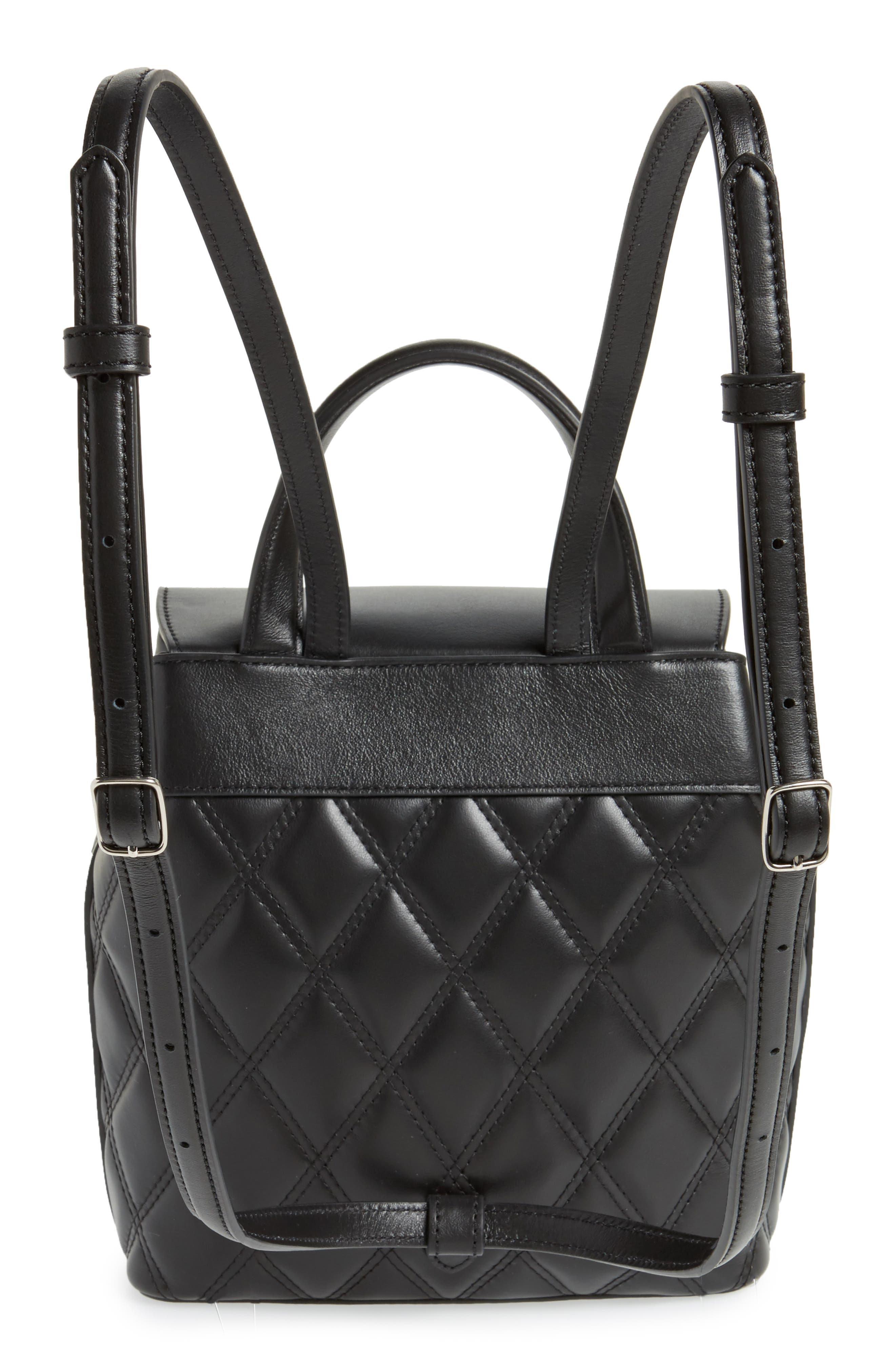 Mini Bayswater Quilted Calfskin Leather Convertible Backpack,                             Alternate thumbnail 3, color,                             BLACK/ SILVER