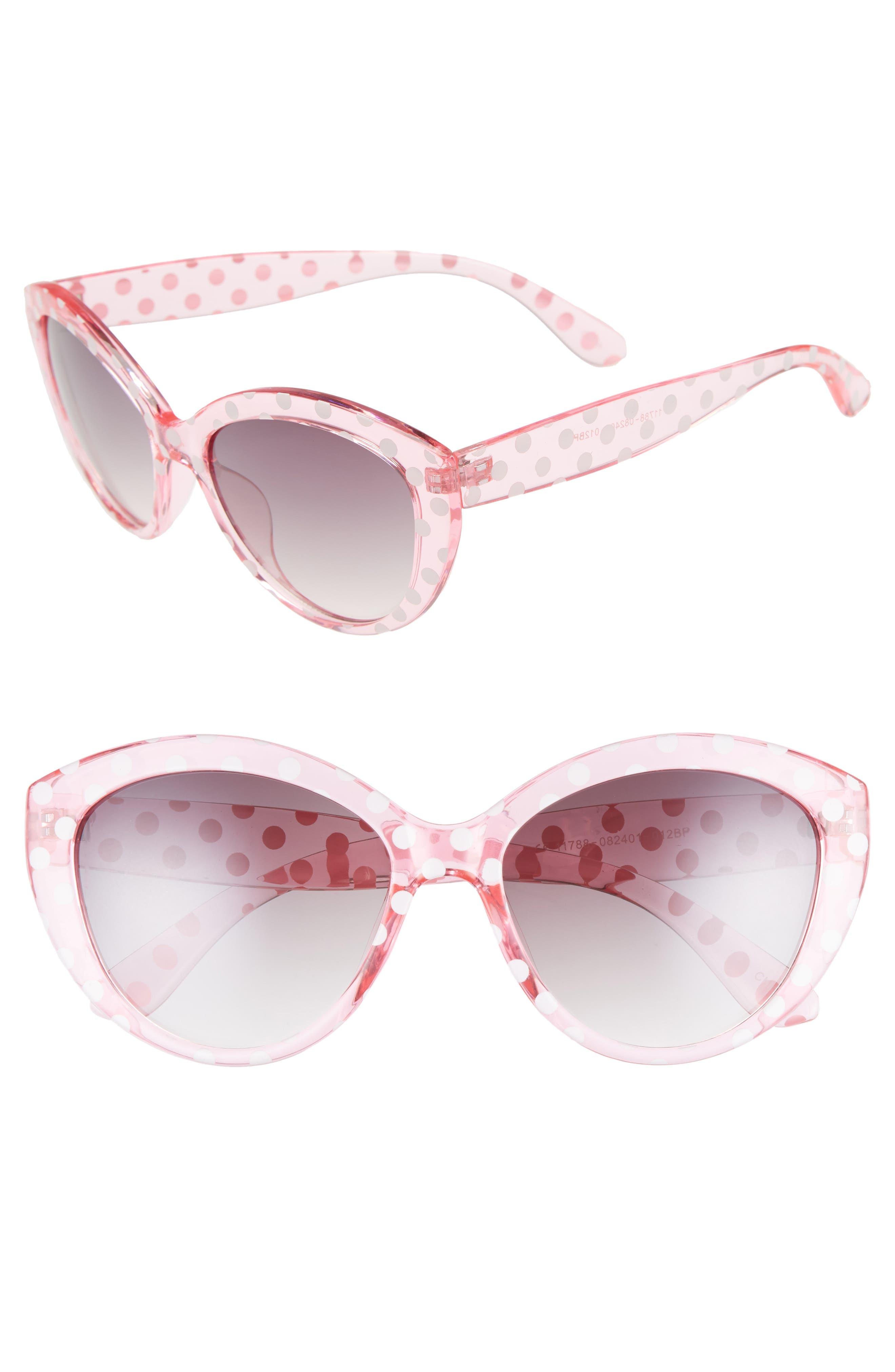 55mm Translucent Polka Dot Cat Eye Sunglasses,                             Main thumbnail 1, color,                             PINK/ BLACK