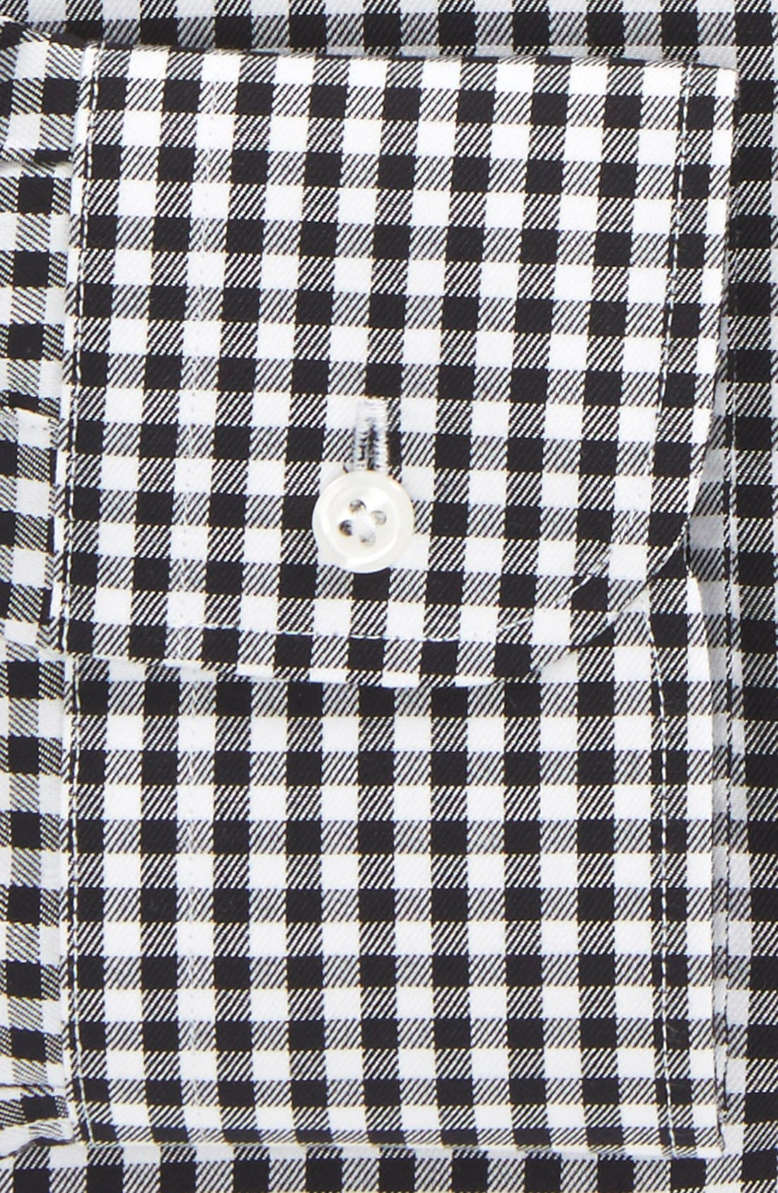 Traditional Fit Non-Iron Gingham Dress Shirt,                             Alternate thumbnail 4, color,                             BLACK ROCK