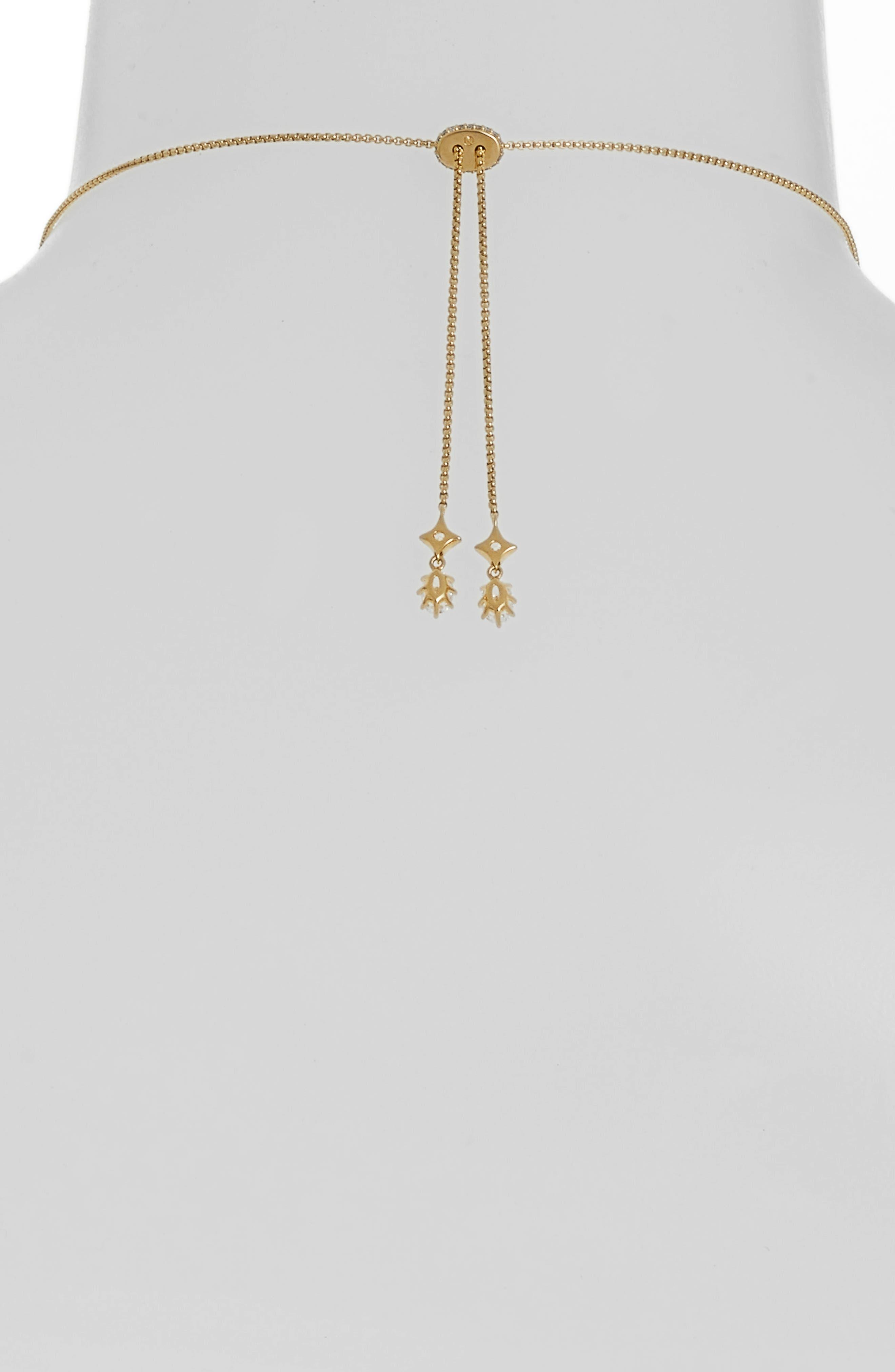 Crystal Fringe Necklace,                             Alternate thumbnail 3, color,                             GOLD/ CLEAR