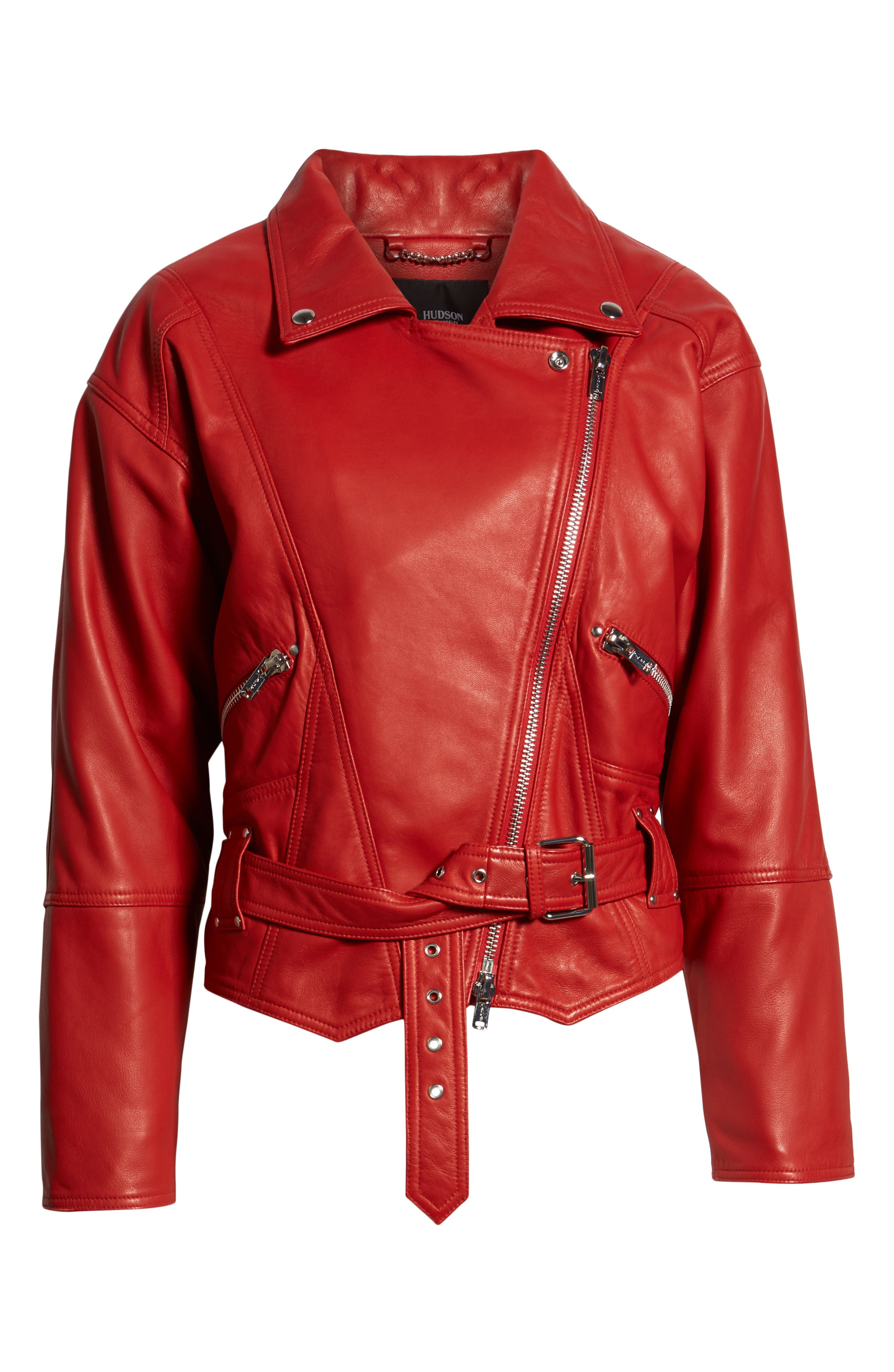 Leather Jacket,                             Alternate thumbnail 6, color,                             RIOT