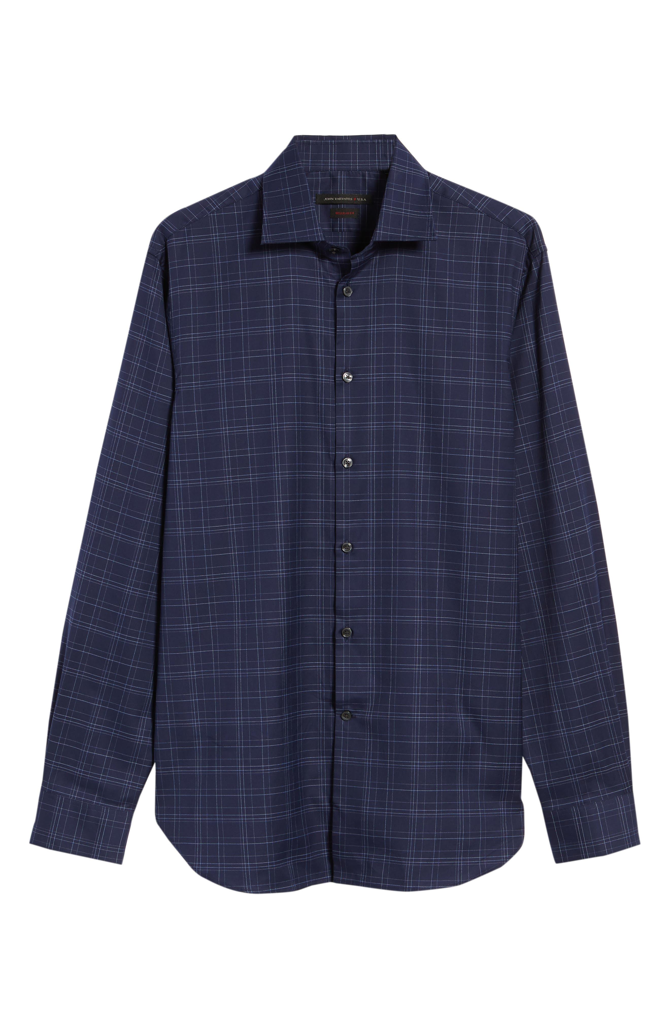 Windowpane Plaid Regular Fit Dress Shirt,                             Alternate thumbnail 5, color,                             INDIGO
