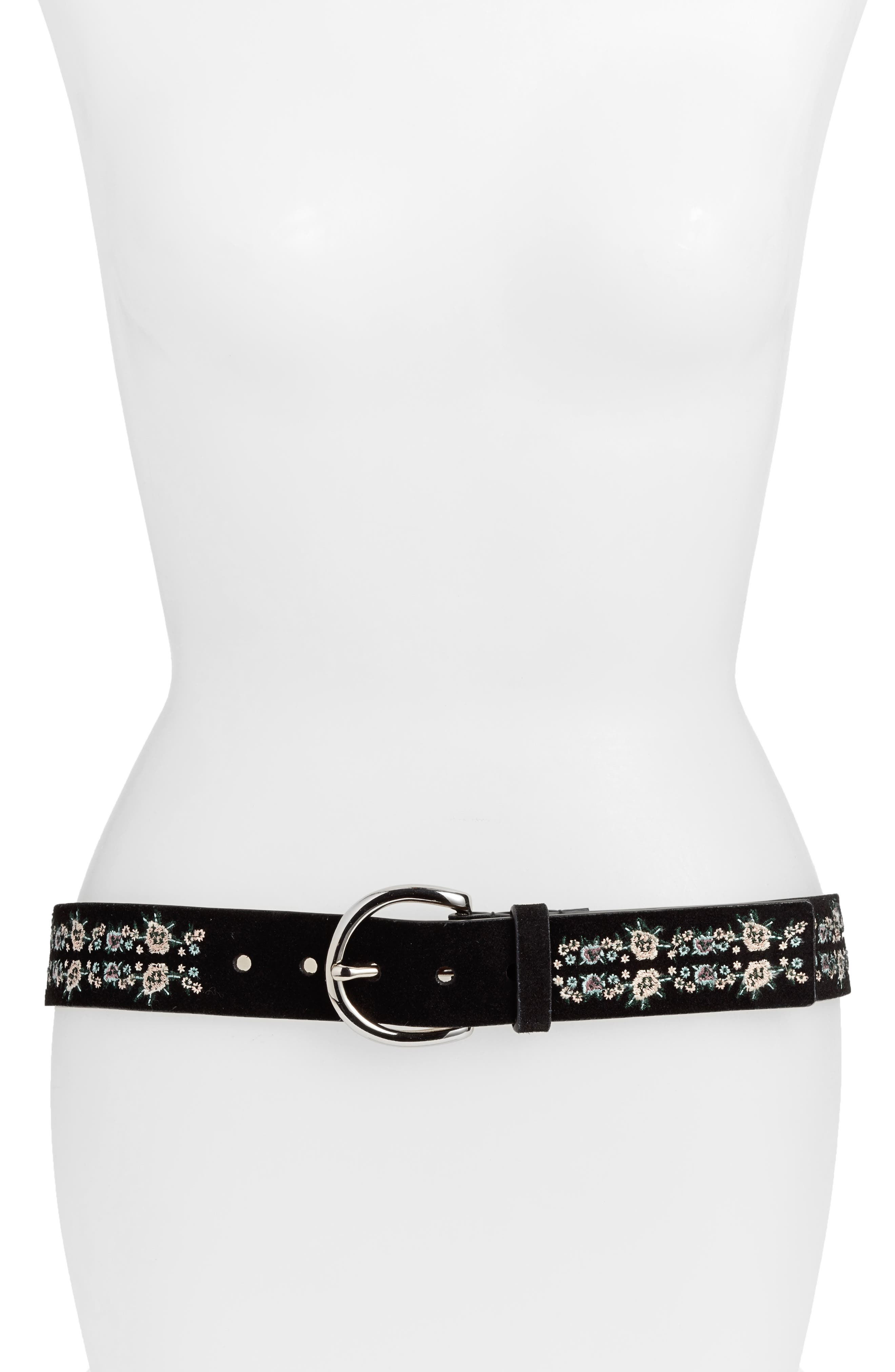 Selena Embroidered Leather Belt,                         Main,                         color, 001
