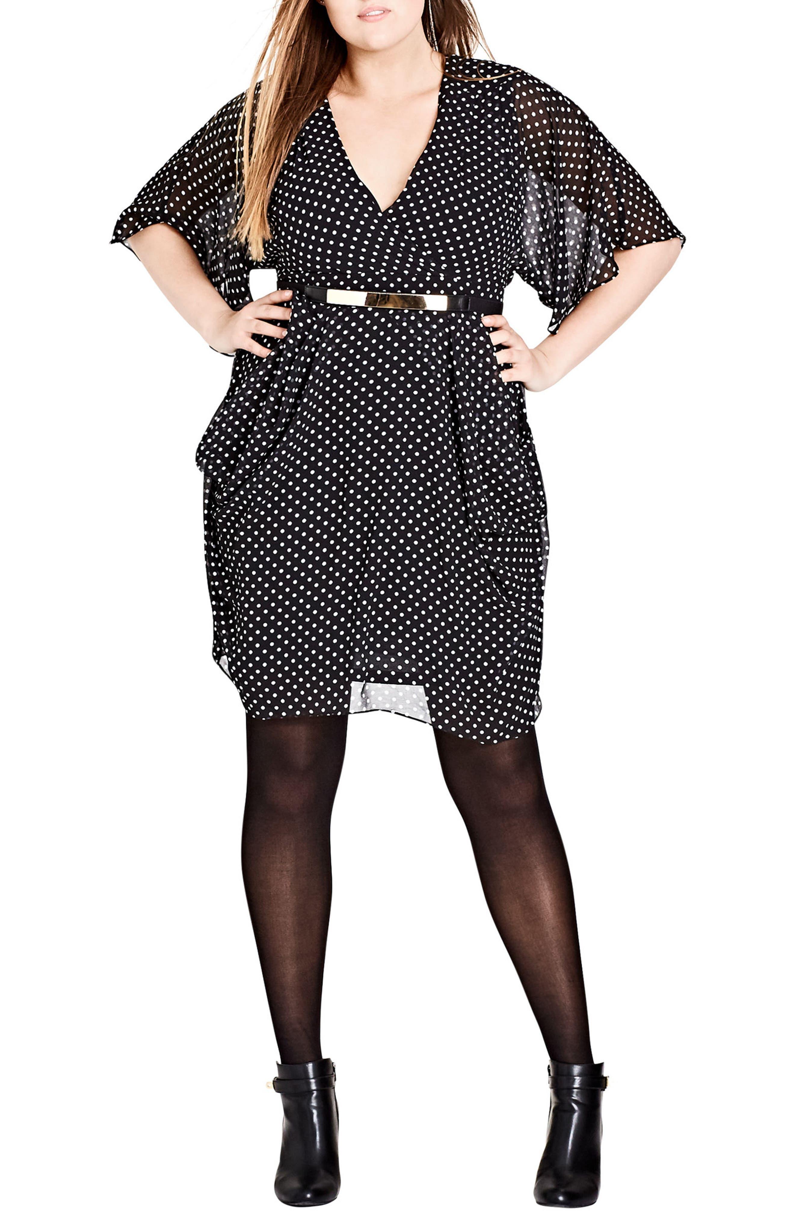 Polka Dot Faux Wrap Dress,                         Main,                         color, PIN SPOT