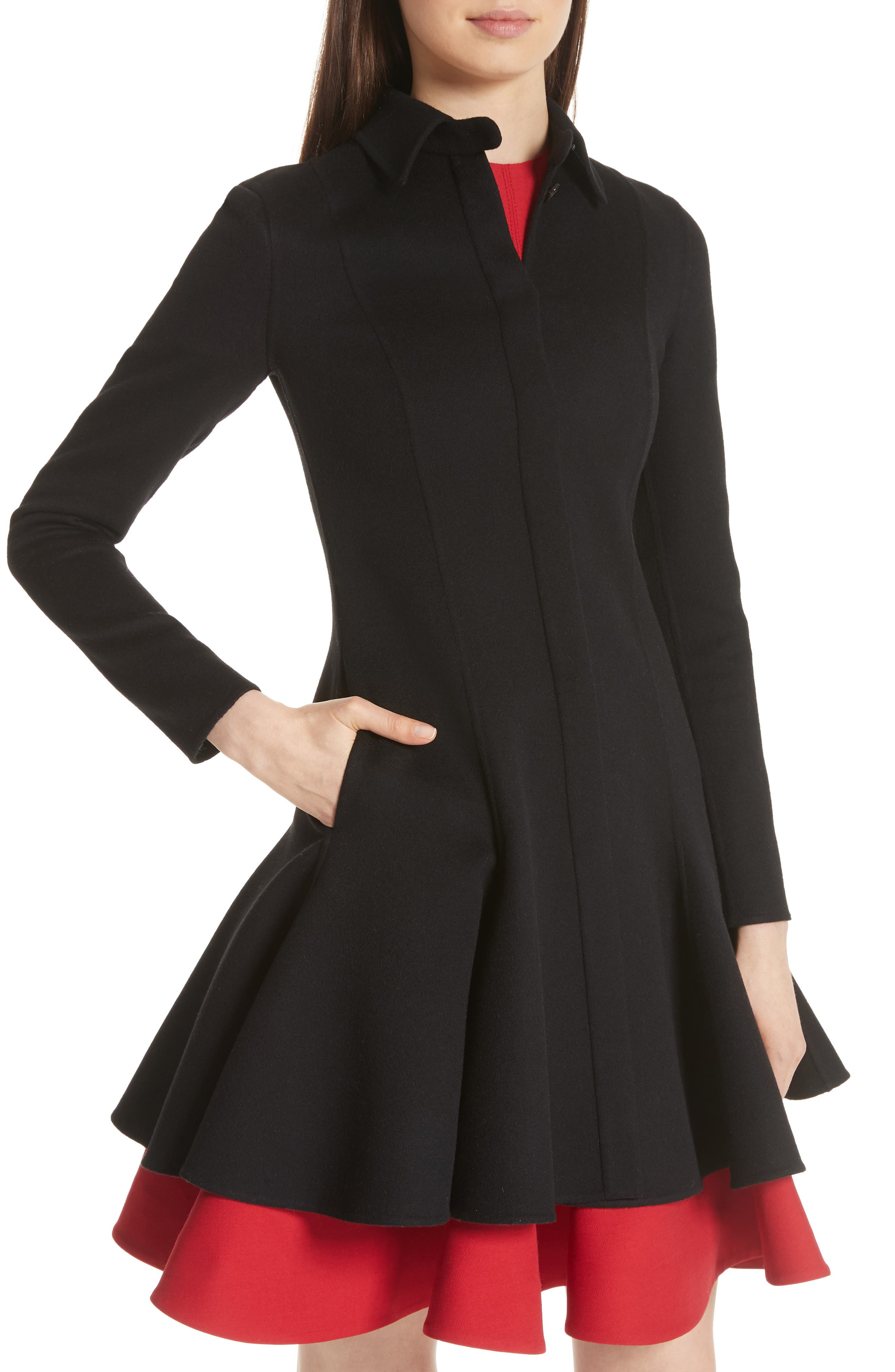 Compact Double Face Wool Peplum Coat,                             Alternate thumbnail 4, color,                             BLACK