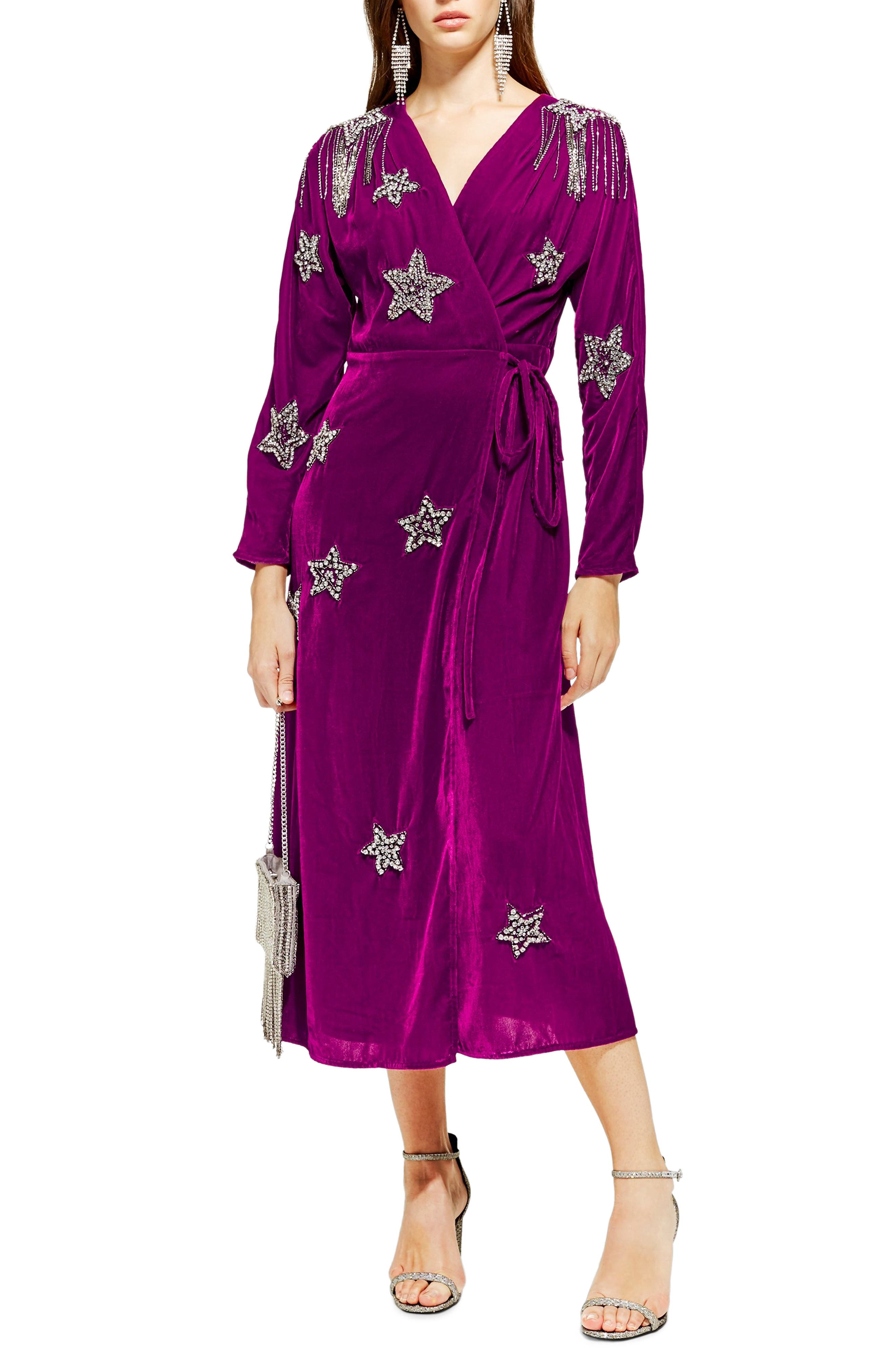 TOPSHOP,                             Velvet Embroidered Wrap Dress,                             Main thumbnail 1, color,                             540