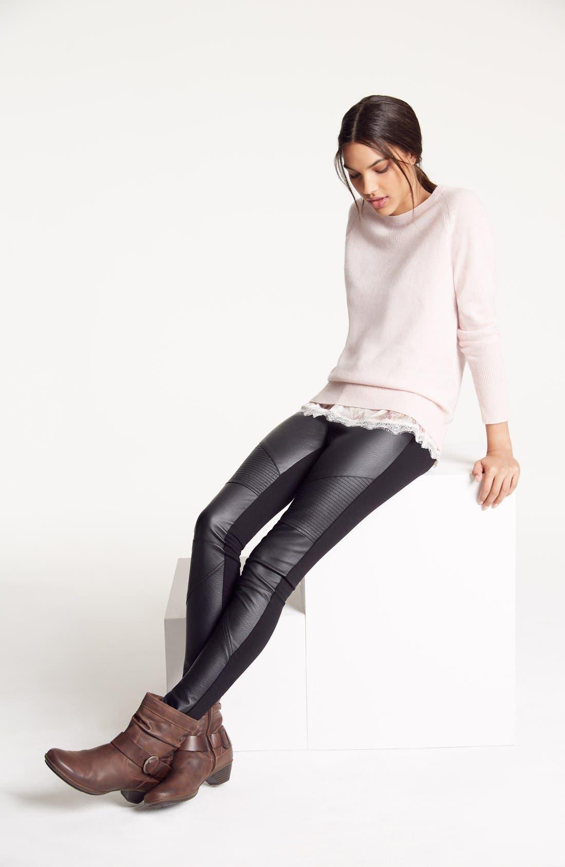 Faux Leather Front Leggings,                         Main,                         color, 501