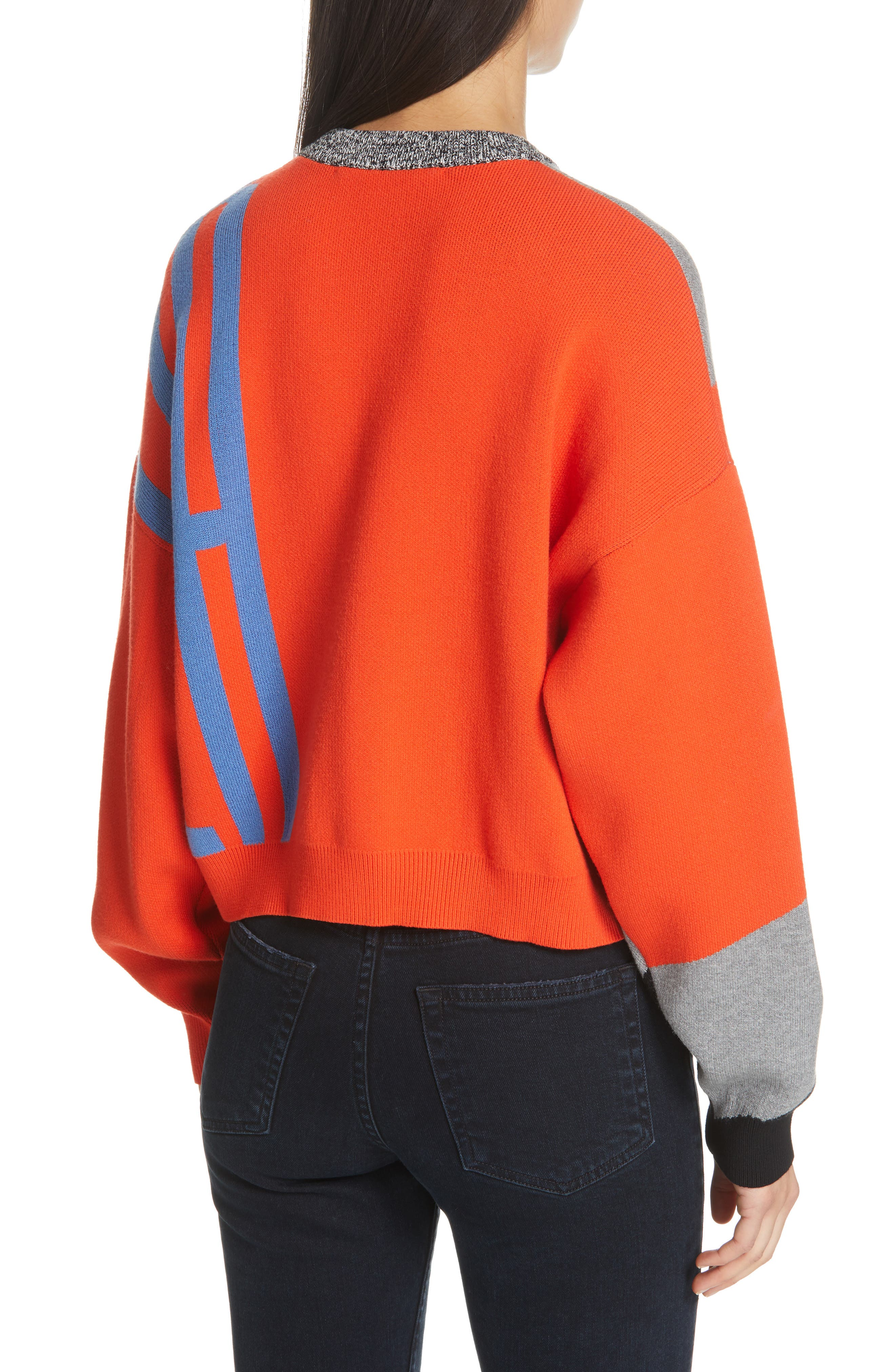 PSWL Graphic Logo Sweater,                             Alternate thumbnail 2, color,                             BRIGHT RED COMBO