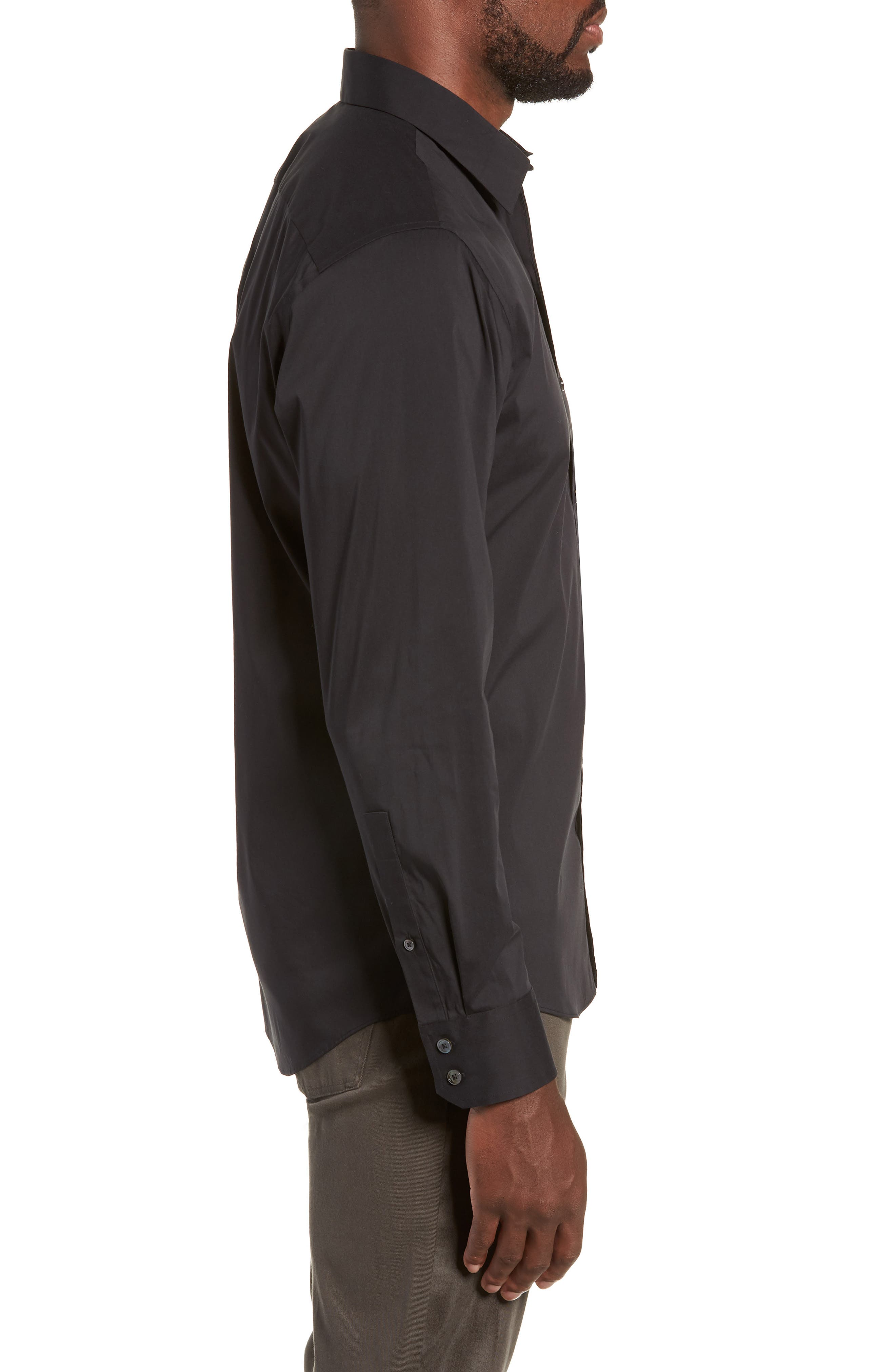 Mulberry Regular Fit Sport Shirt,                             Alternate thumbnail 4, color,                             BLACK