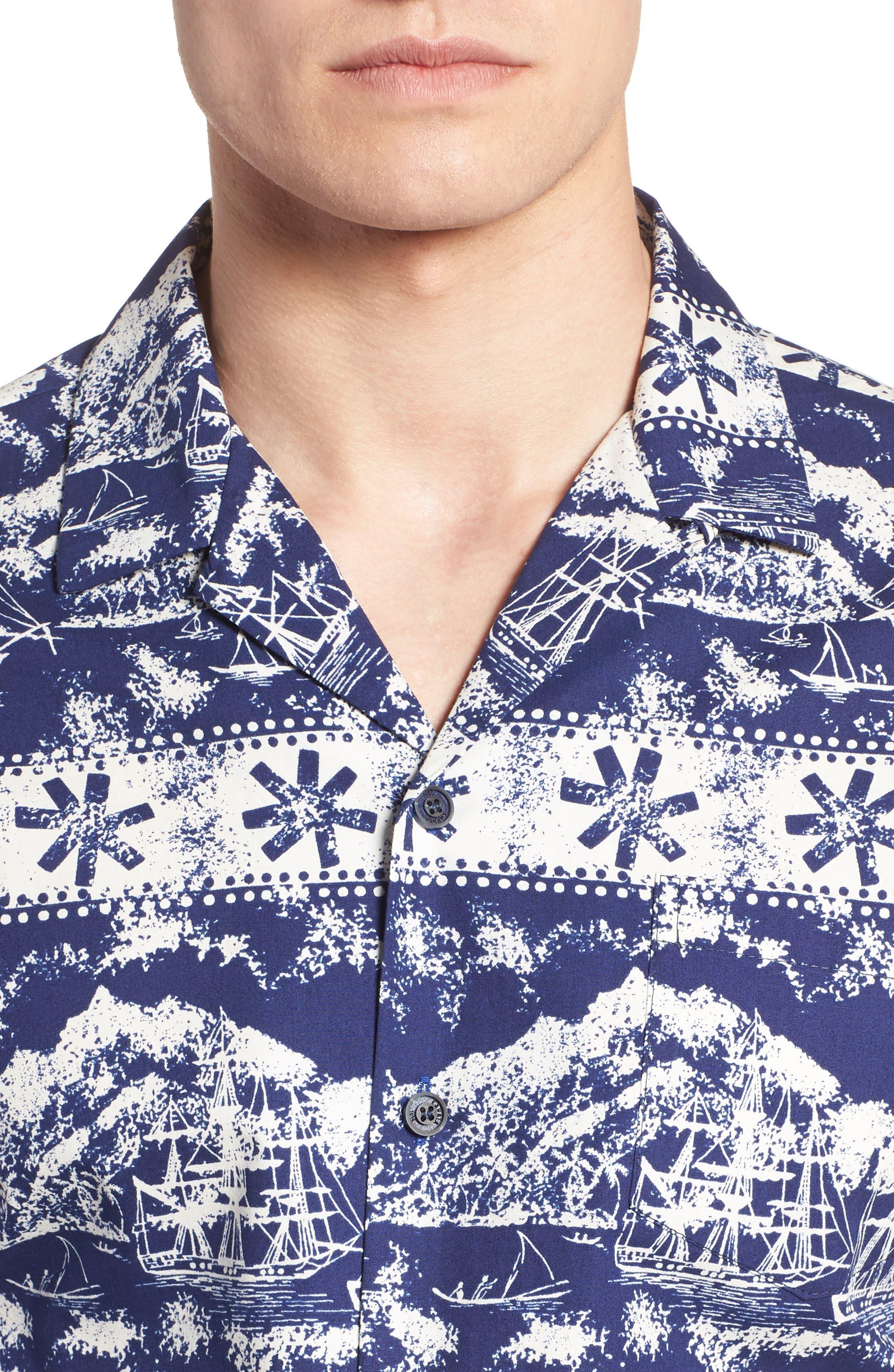 Safe Harbor Slim Fit Camp Shirt,                             Alternate thumbnail 4, color,                             415