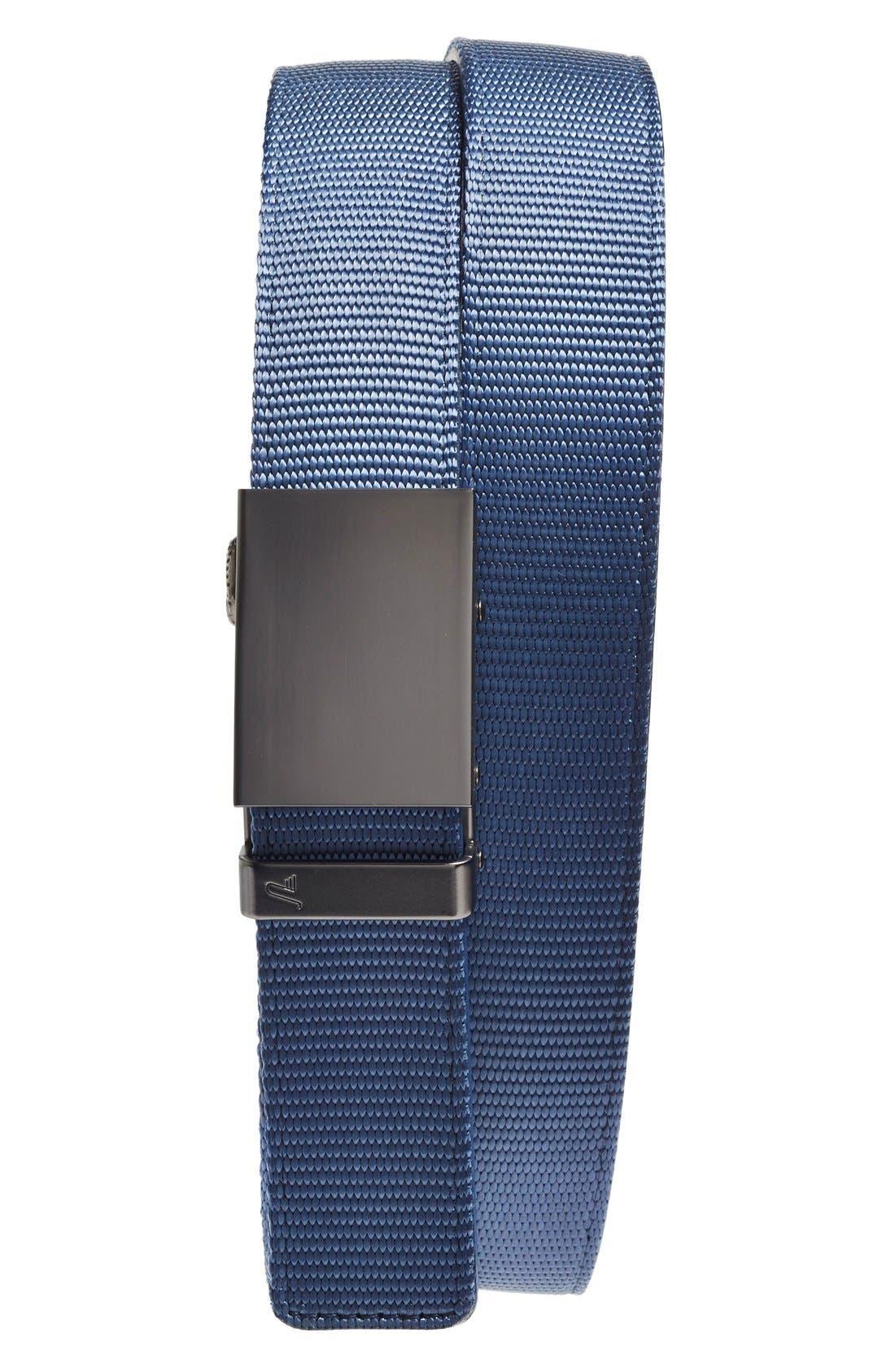 Nylon Belt,                             Main thumbnail 1, color,                             GUNMETAL/ BLUE NYLON