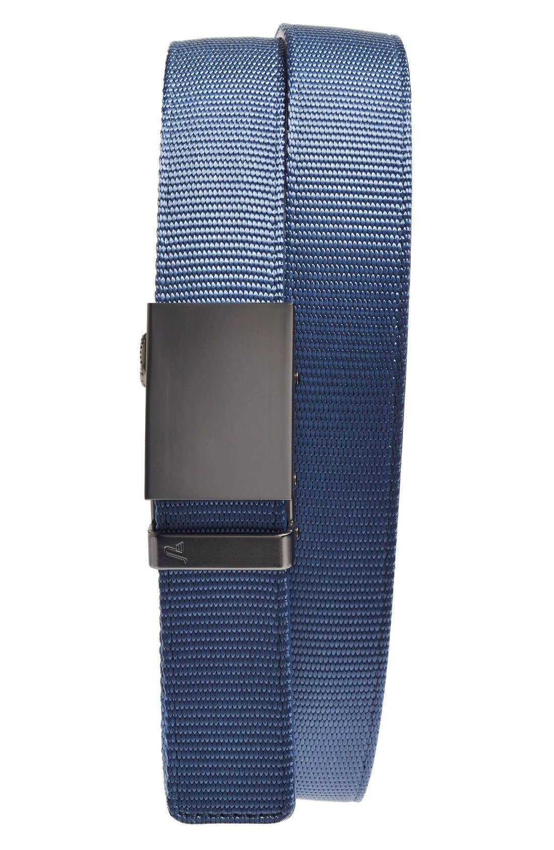 Nylon Belt,                         Main,                         color, GUNMETAL/ BLUE NYLON