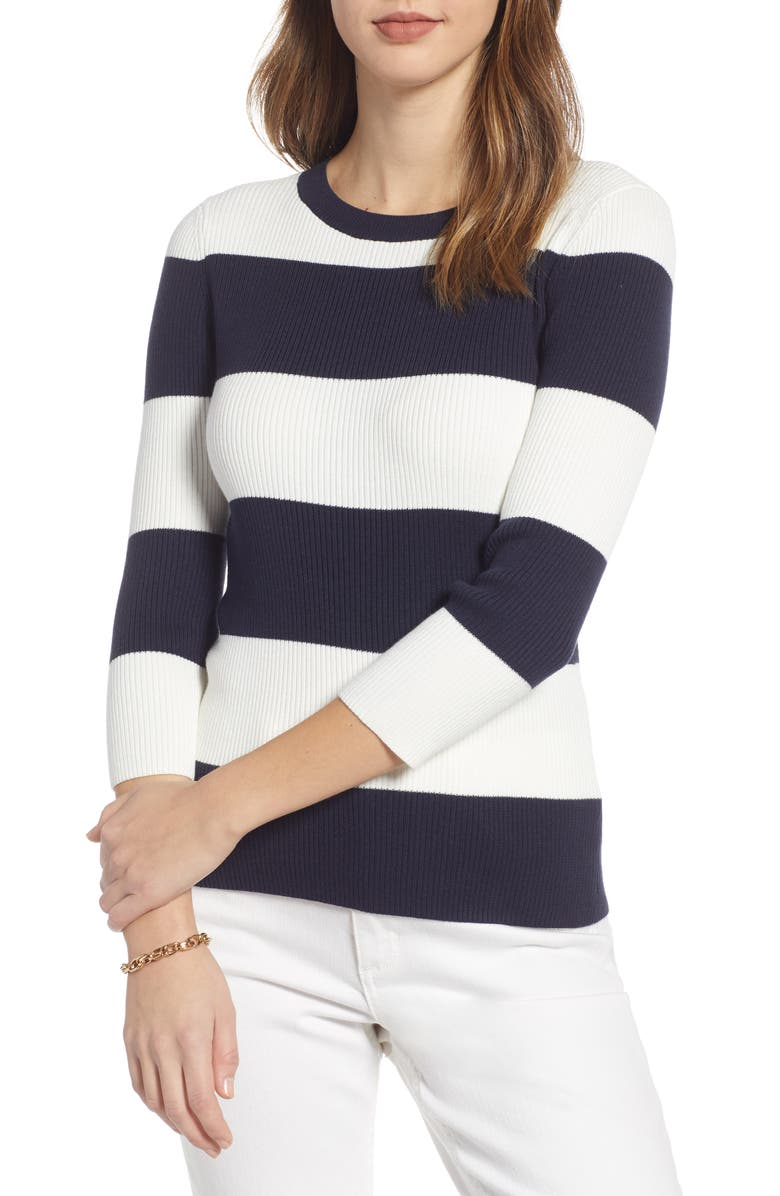 Ribbed Stripe Sweater, Main, color, NAVY- WHITE SMALL RUGBY STRIPE