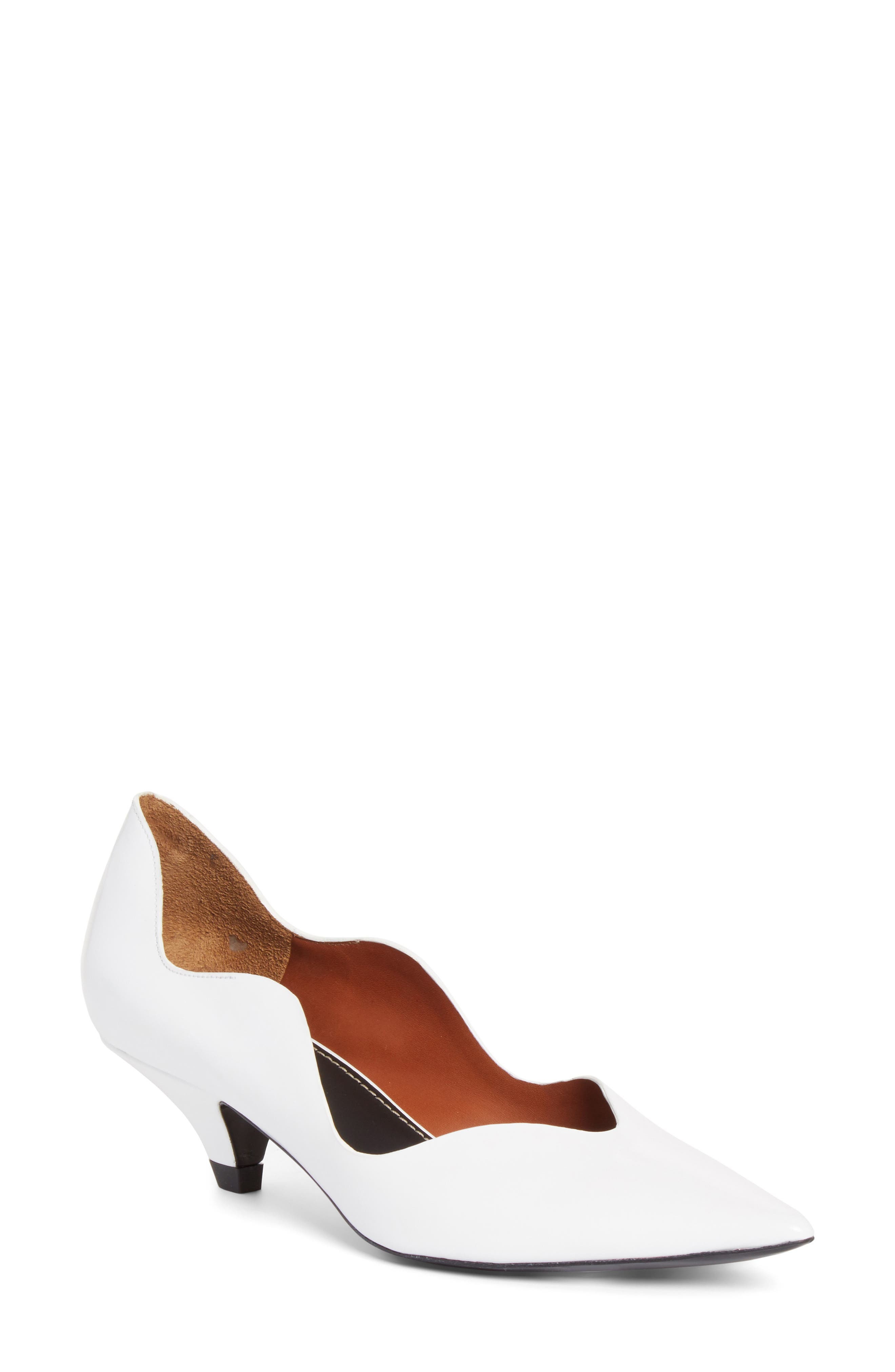 Wave Pointy Toe Pump,                             Main thumbnail 1, color,                             WHITE