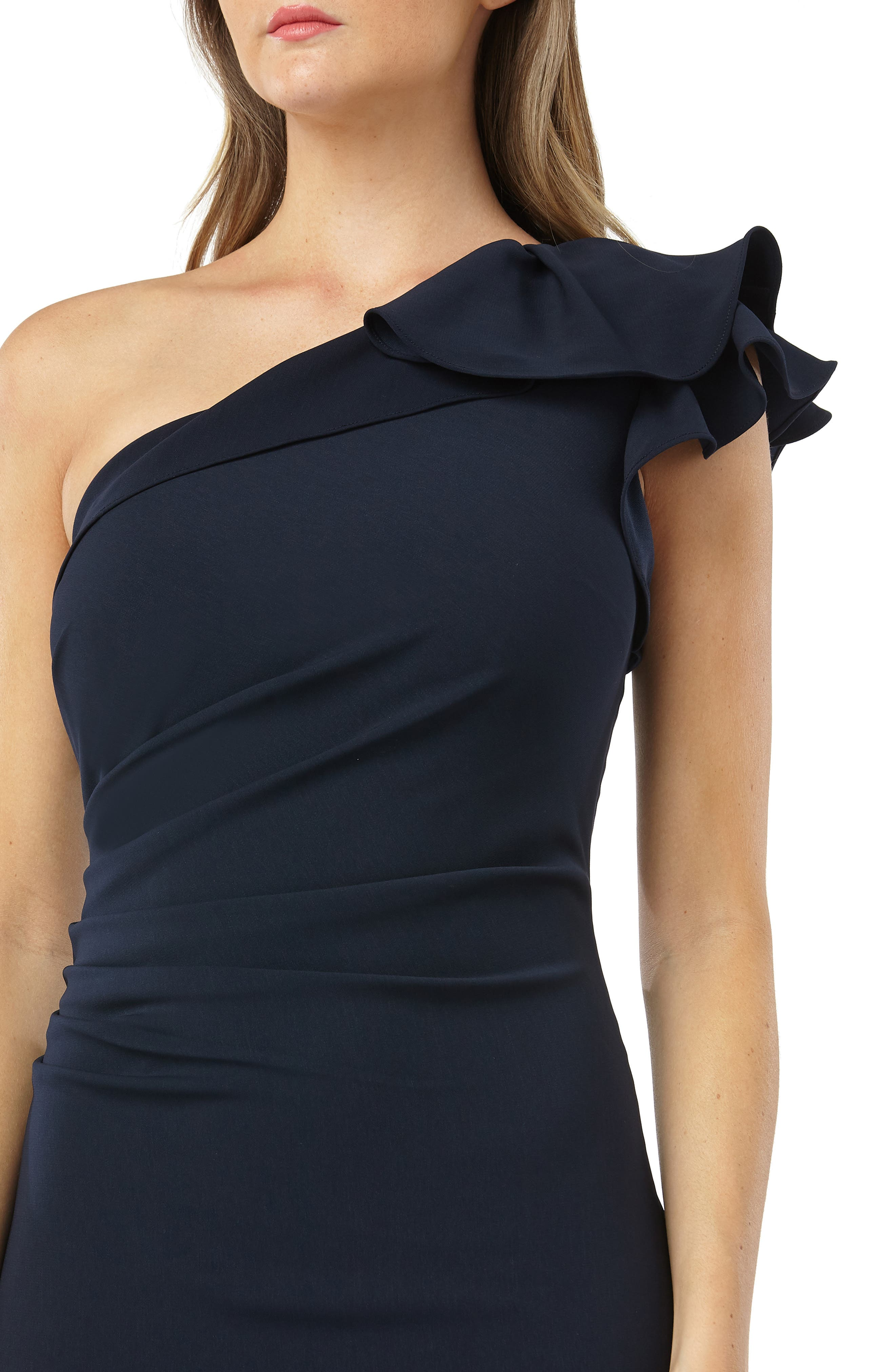One-Shoulder Gown,                             Alternate thumbnail 4, color,                             MIDNIGHT