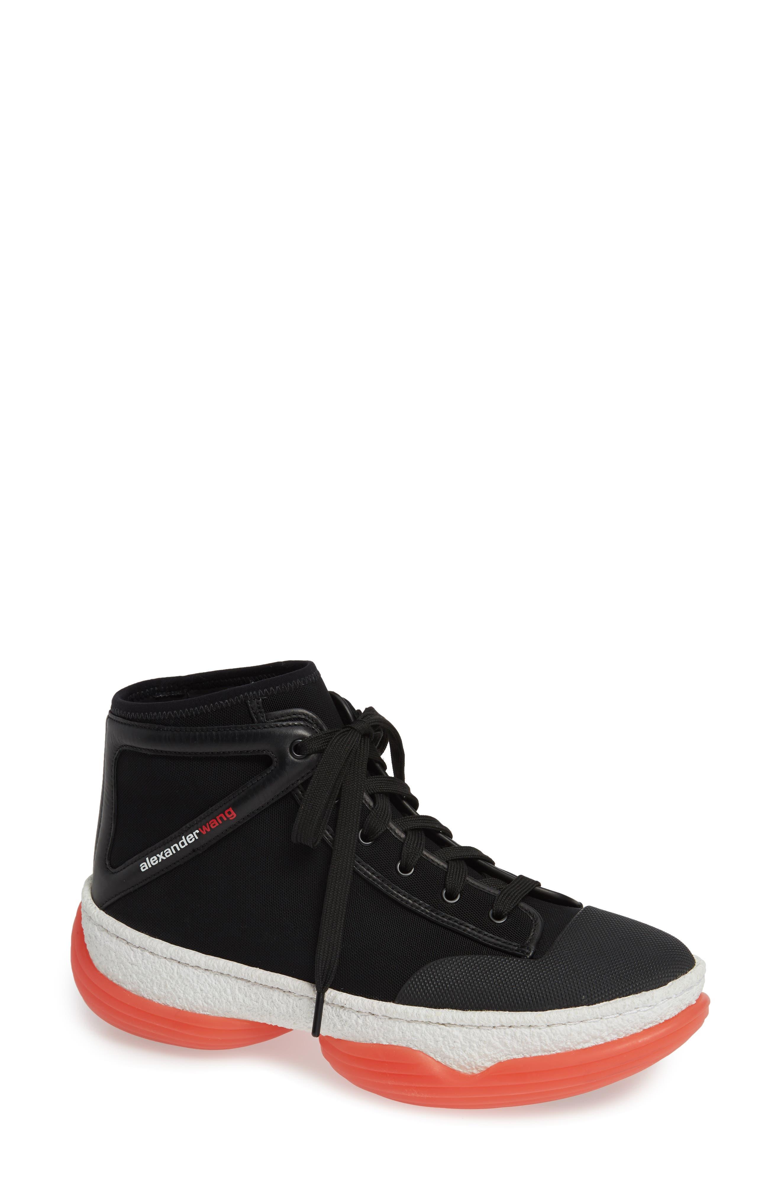 ALEXANDER WANG Logo Platform Sneaker, Main, color, BLACK