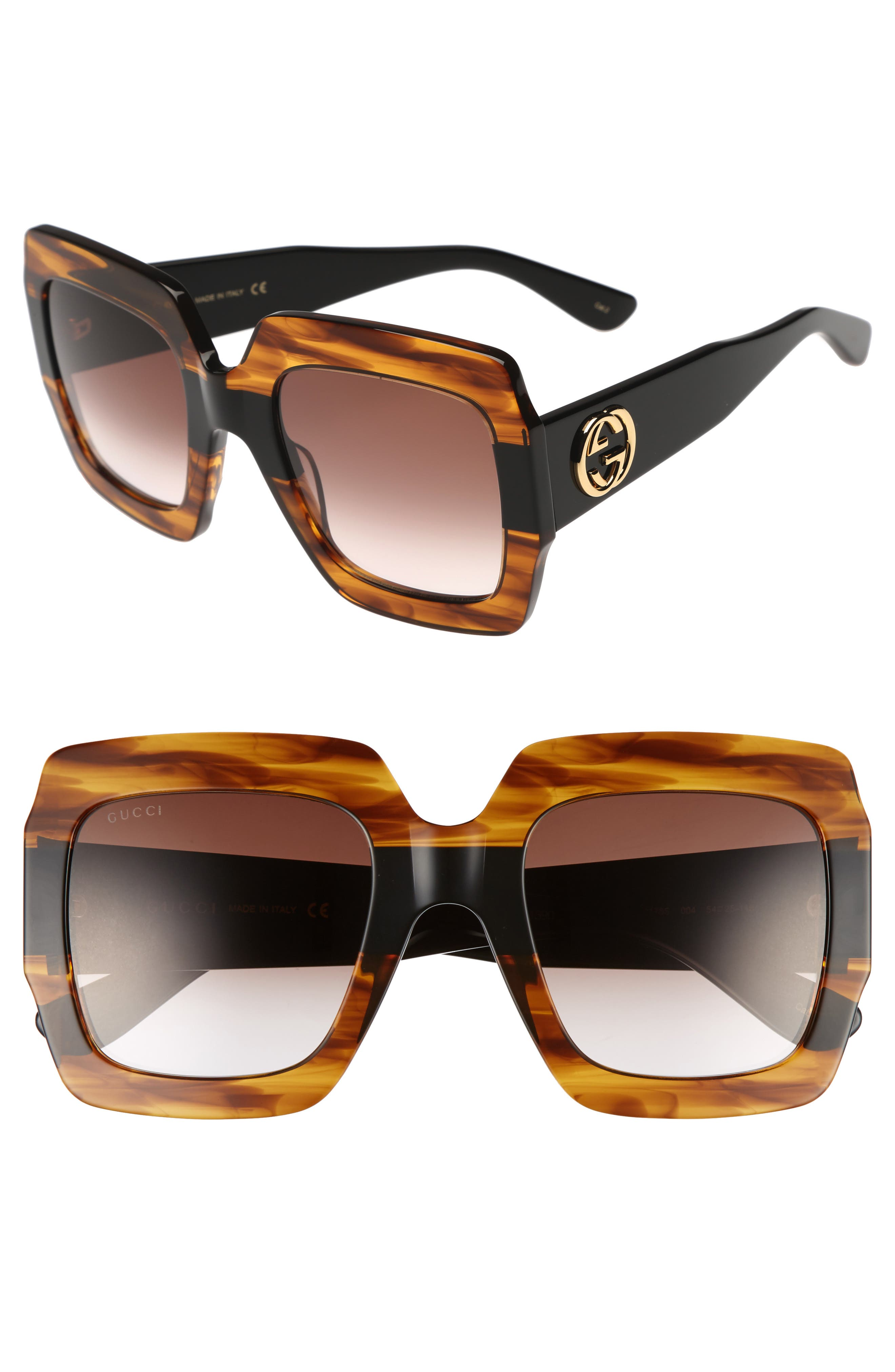 Gucci 5m Square Sunglasses - Havana