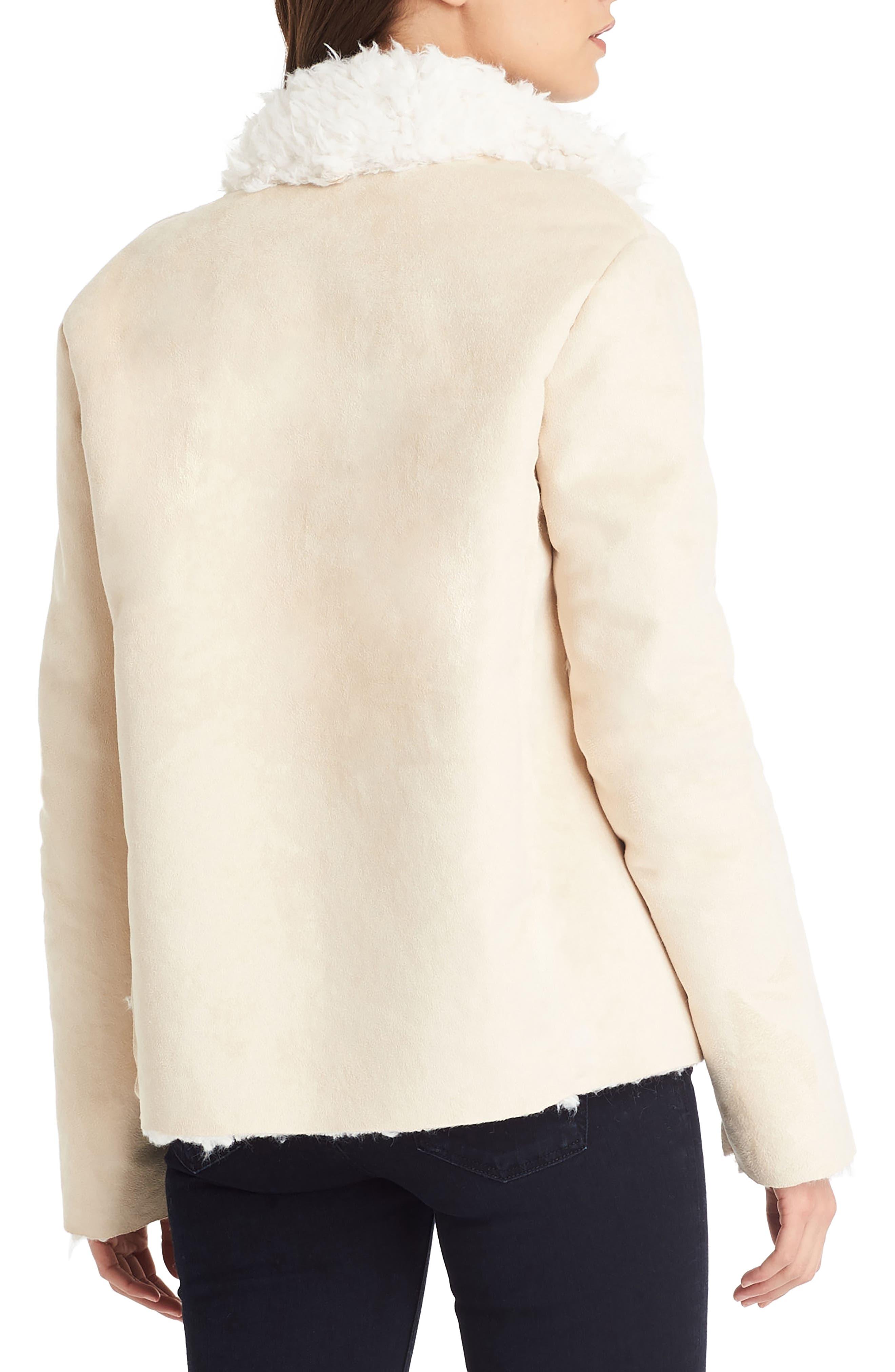Reversible Faux Fur Coat,                             Alternate thumbnail 3, color,