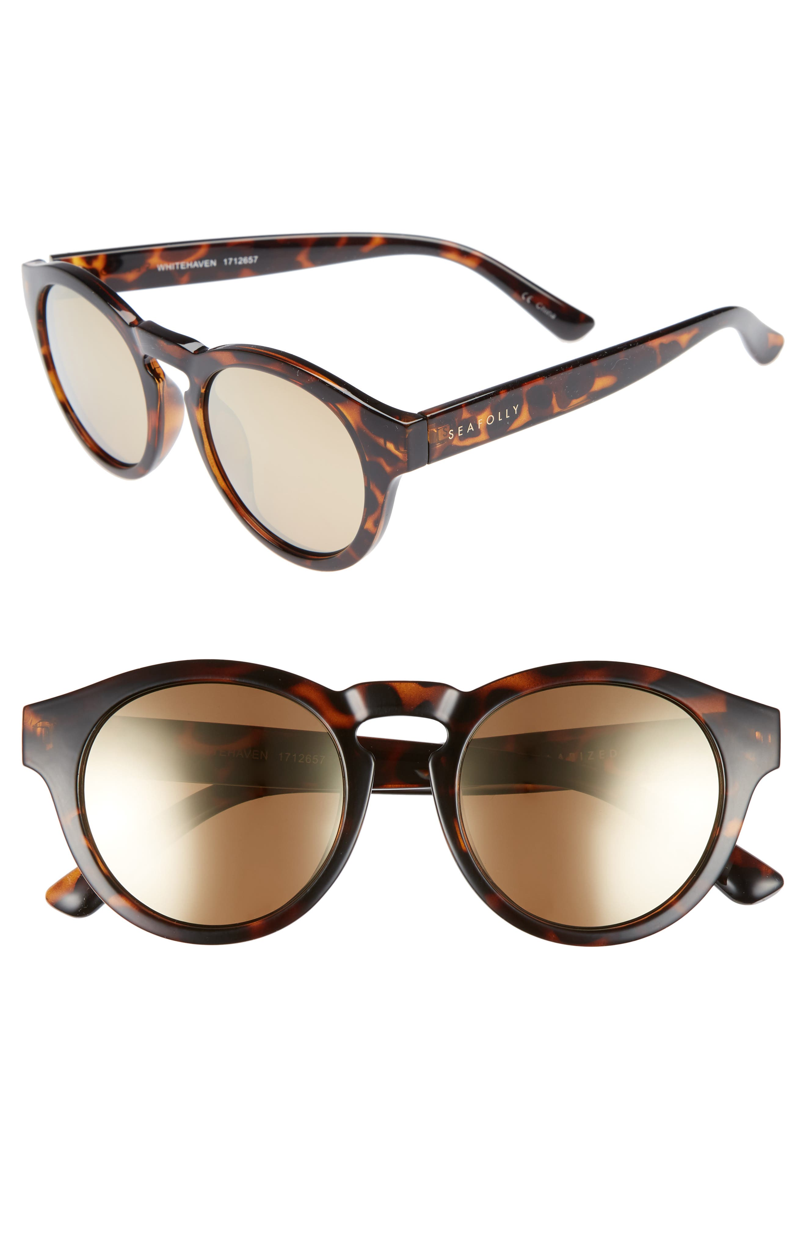 Whitehaven 49mm Round Lens Polarized Sunglasses,                             Main thumbnail 1, color,                             DARK TORT