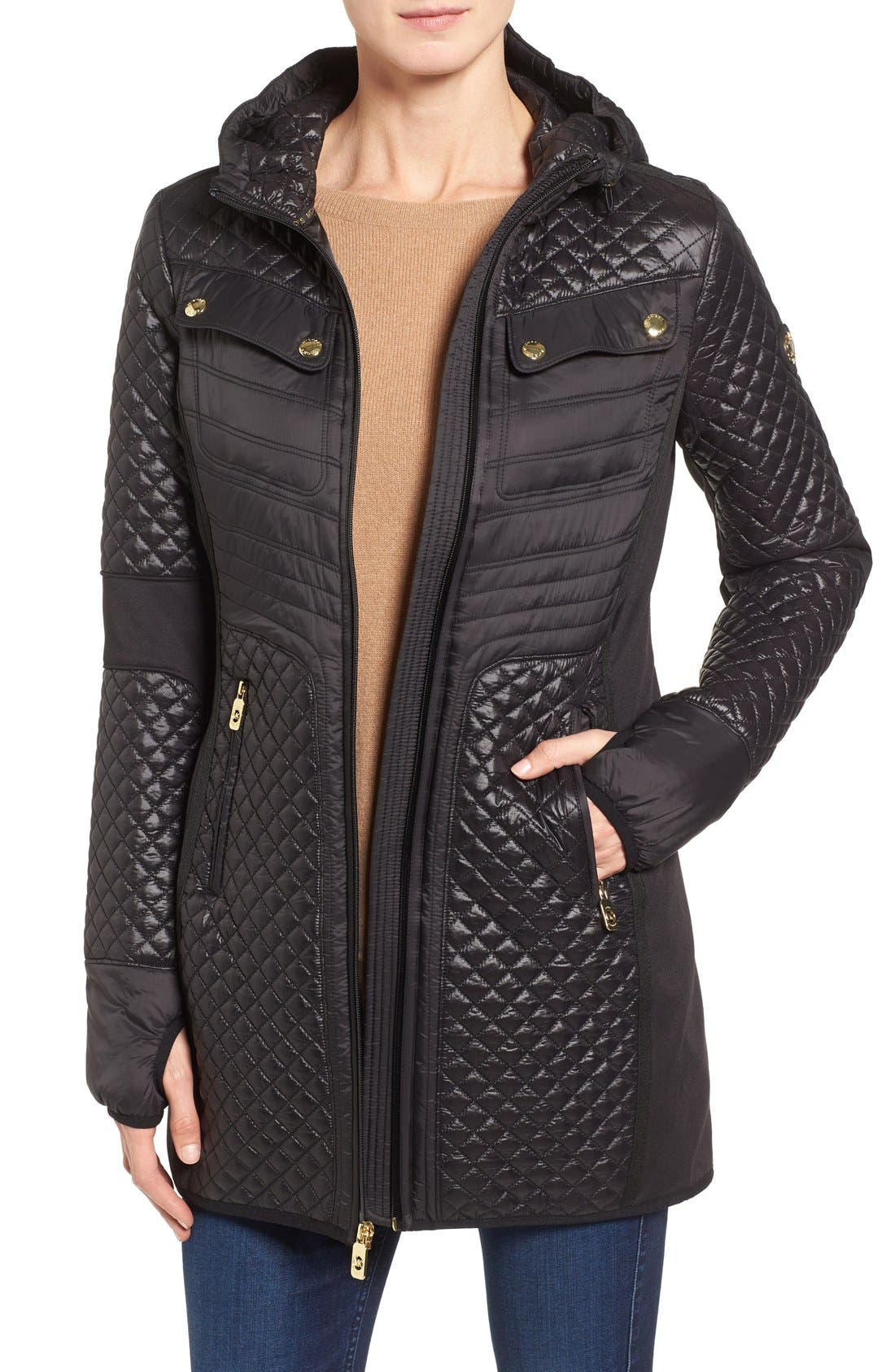 Mixed Media Hooded Zip Front Coat,                         Main,                         color, 001