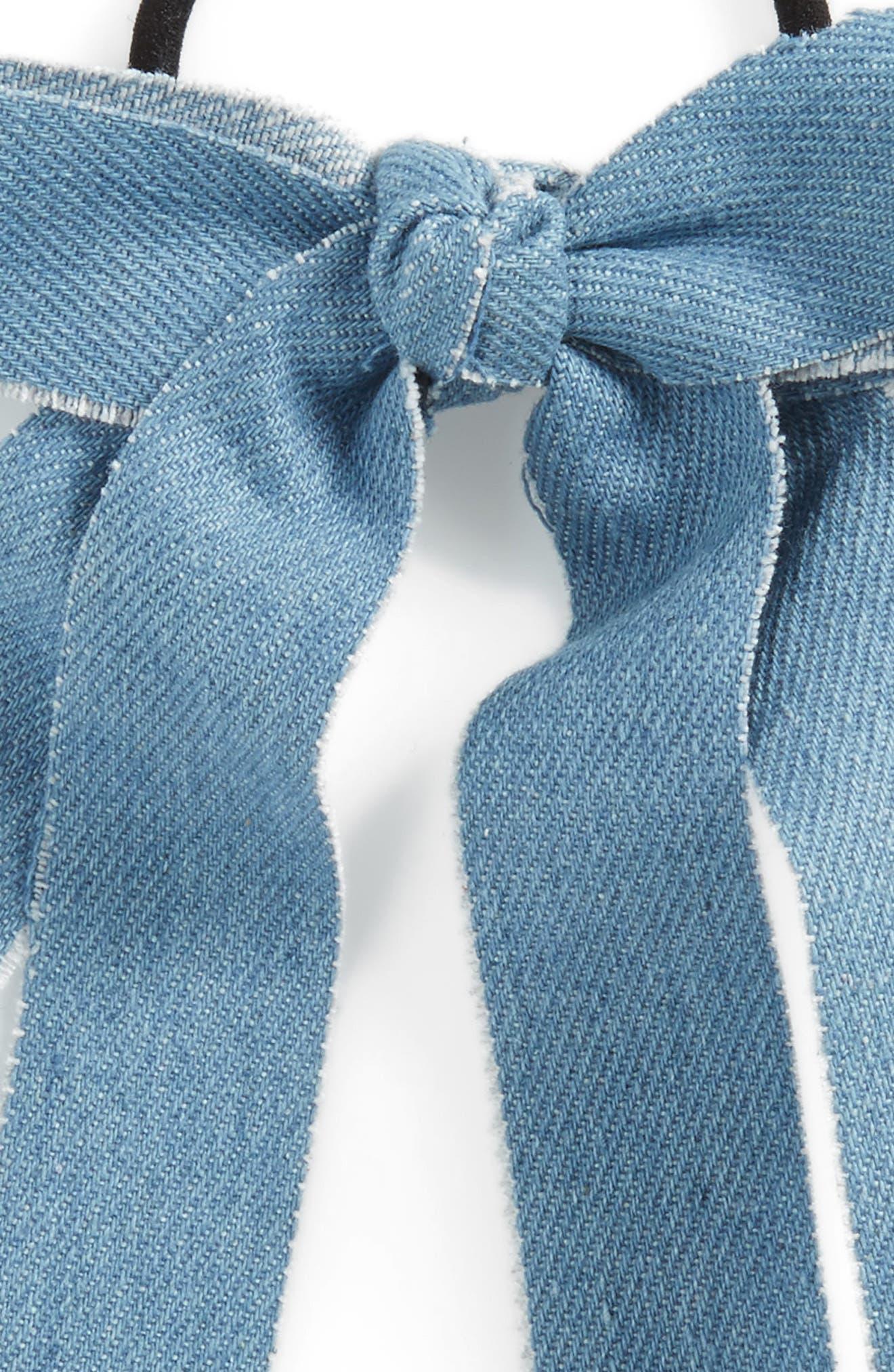 Denim Bow Ponytail Elastic,                             Alternate thumbnail 2, color,                             400