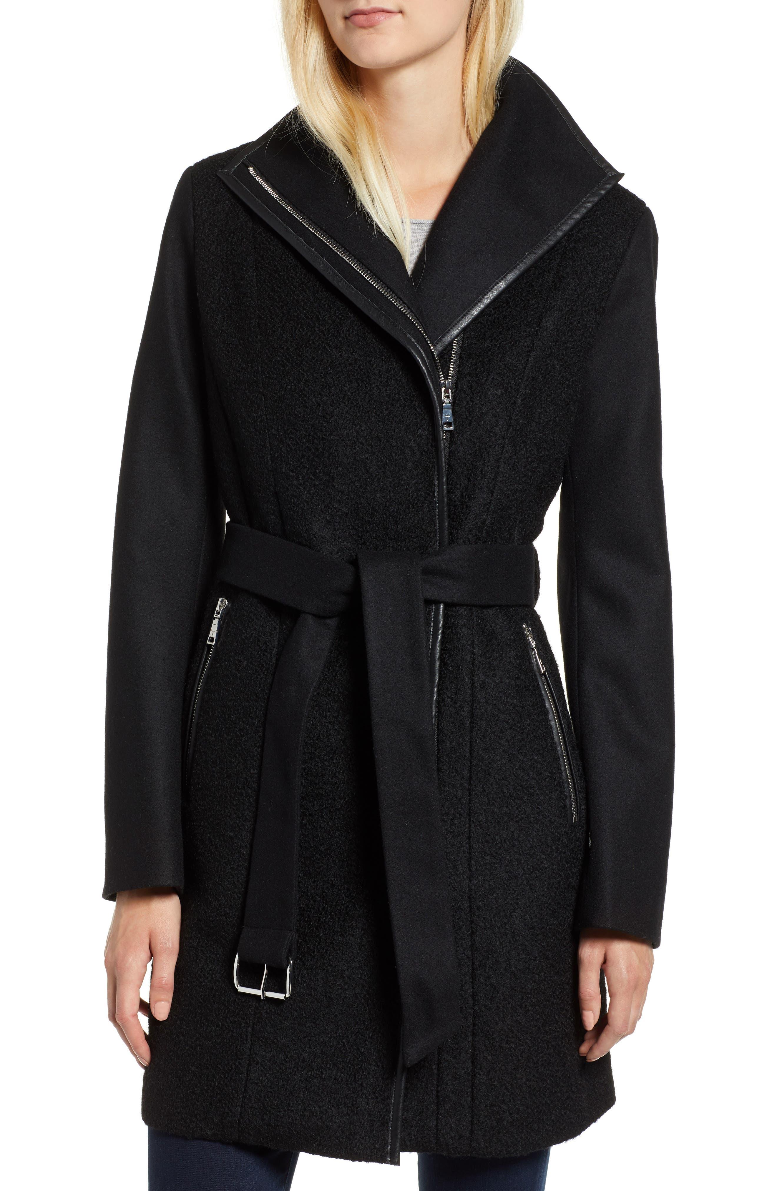 Elaine Boiled Wool Blend Coat,                         Main,                         color, BLACK