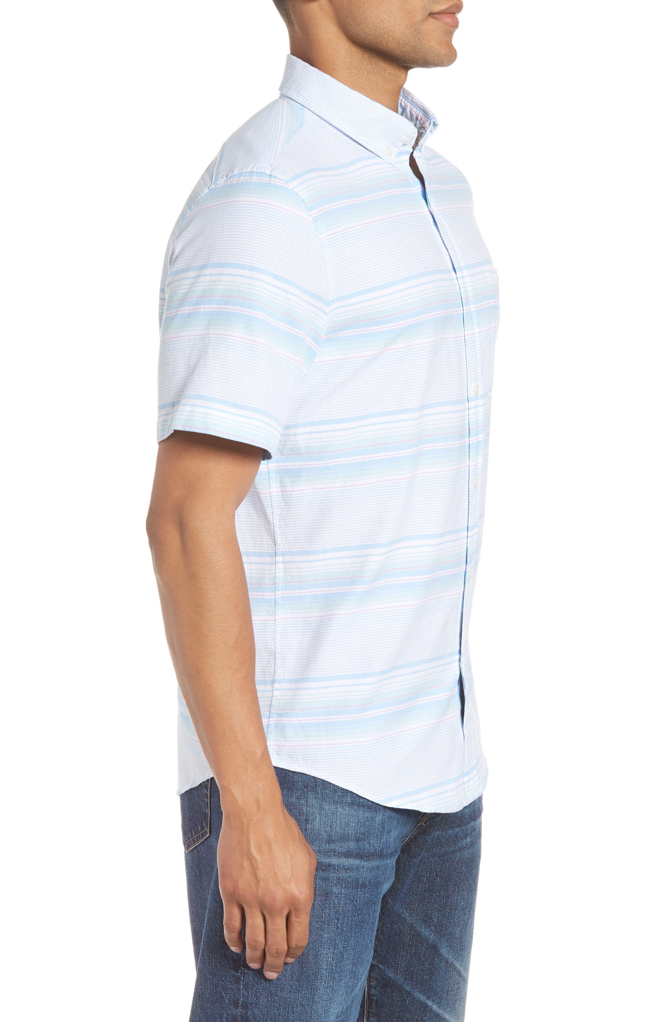 Sand Piper Tucker Regular Fit Stripe Oxford Sport Shirt,                             Alternate thumbnail 4, color,                             POOL SIDE