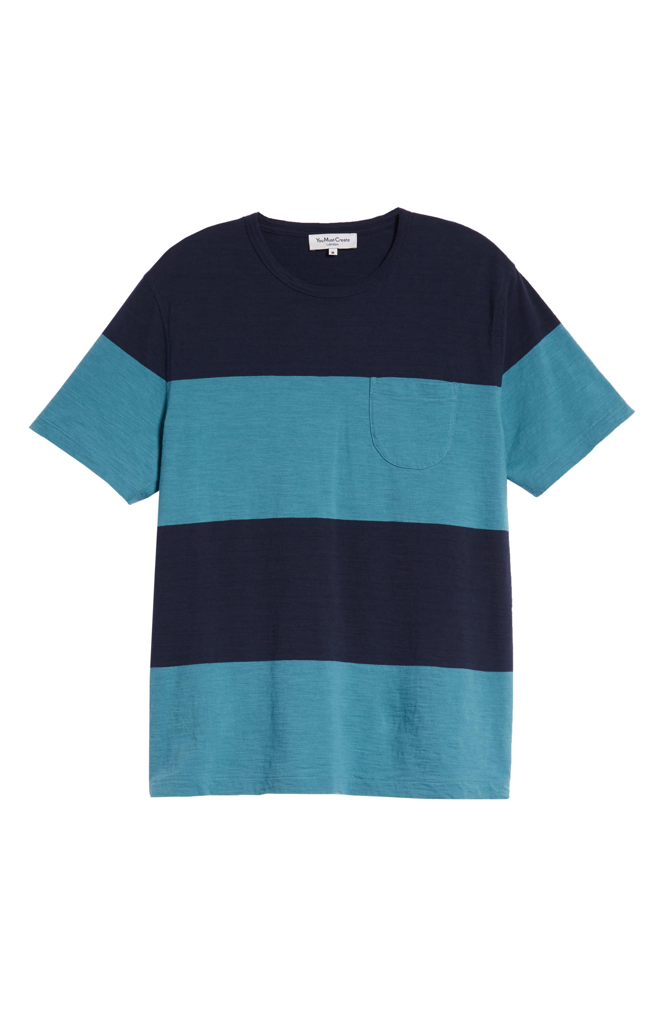 Colorblock Slubbed Pocket T-Shirt,                             Alternate thumbnail 6, color,                             NAVY/ BLUE