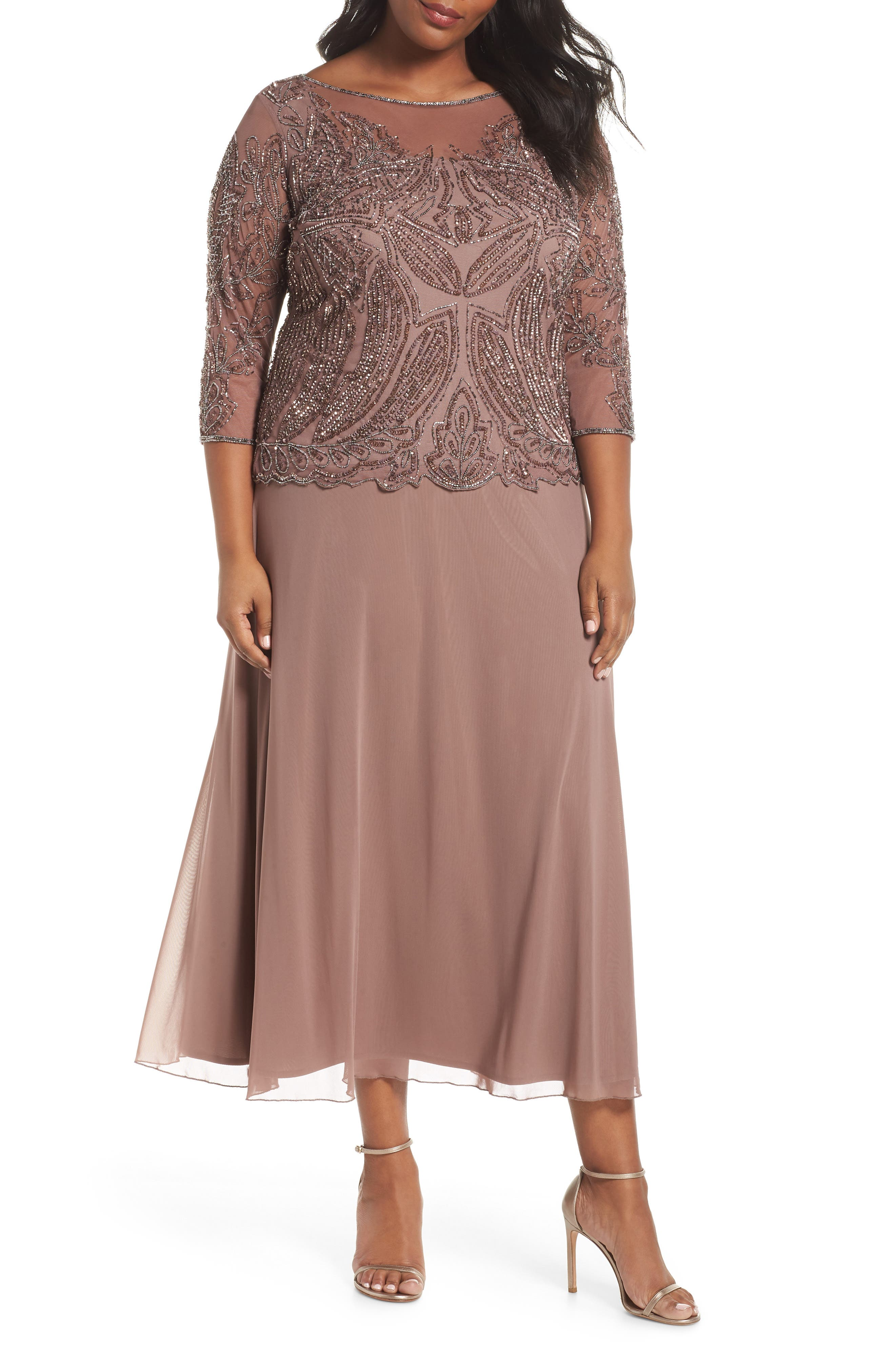 PISARRO NIGHTS,                             Illusion Neck Beaded A-Line Gown,                             Main thumbnail 1, color,                             MAUVE