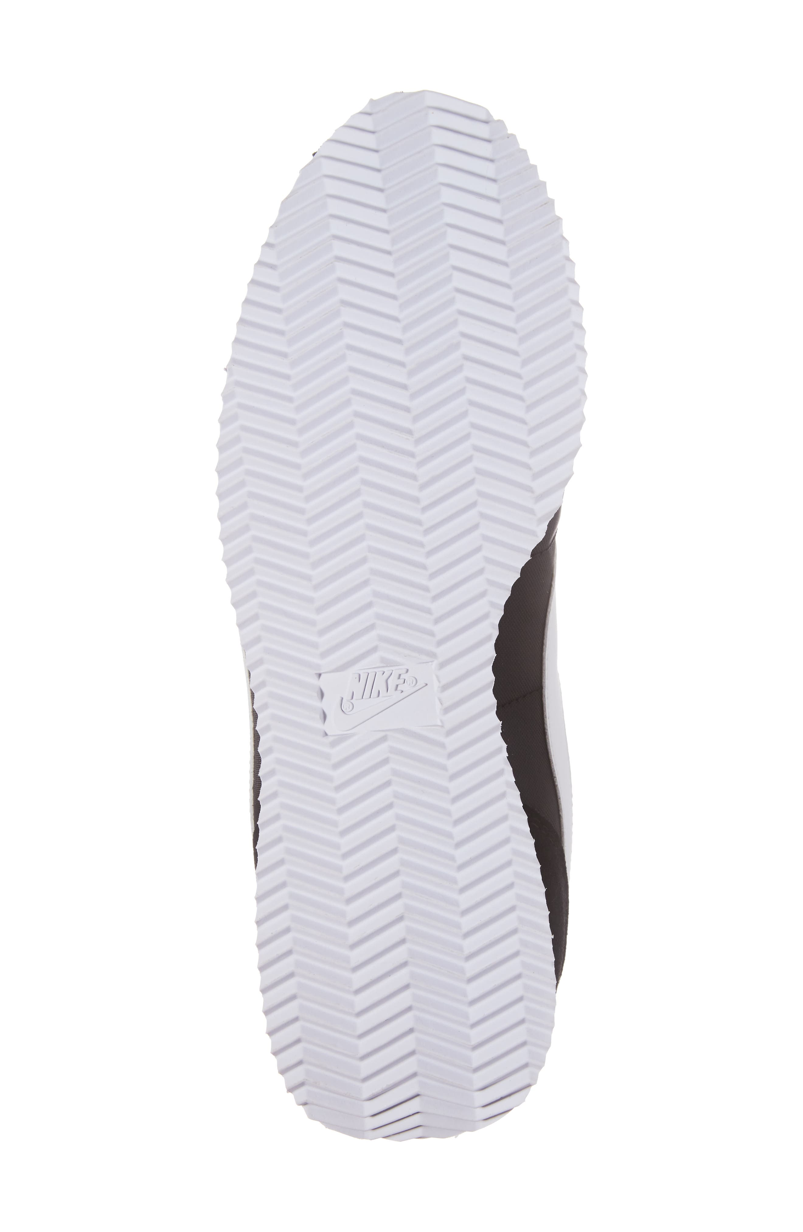 Cortez Basic Nylon Sneaker,                             Alternate thumbnail 6, color,                             BLACK/WHITE/METALLIC SILVER
