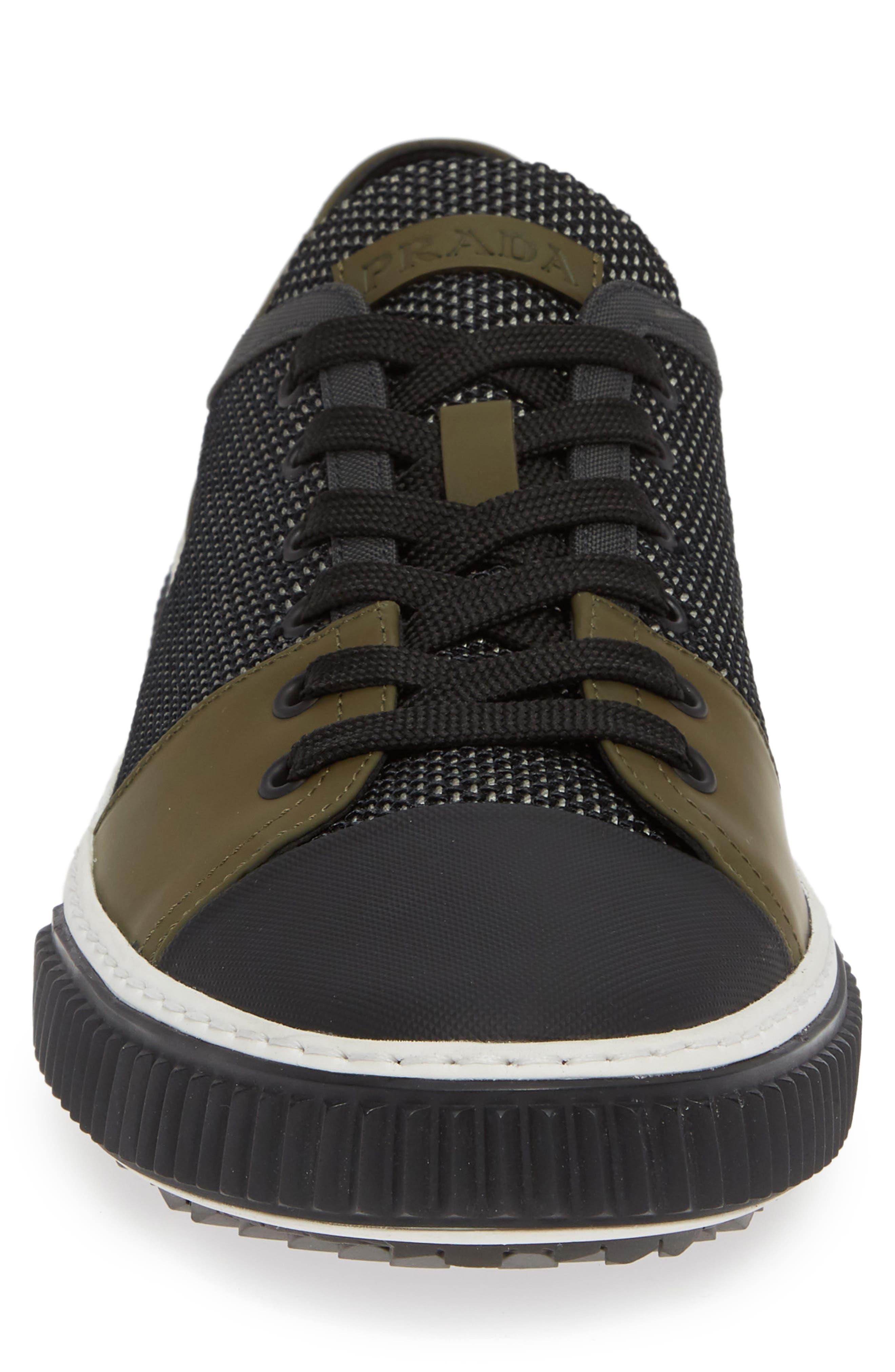 PRADA,                             Linea Rossa Sneaker,                             Alternate thumbnail 4, color,                             GREY/ BLACK