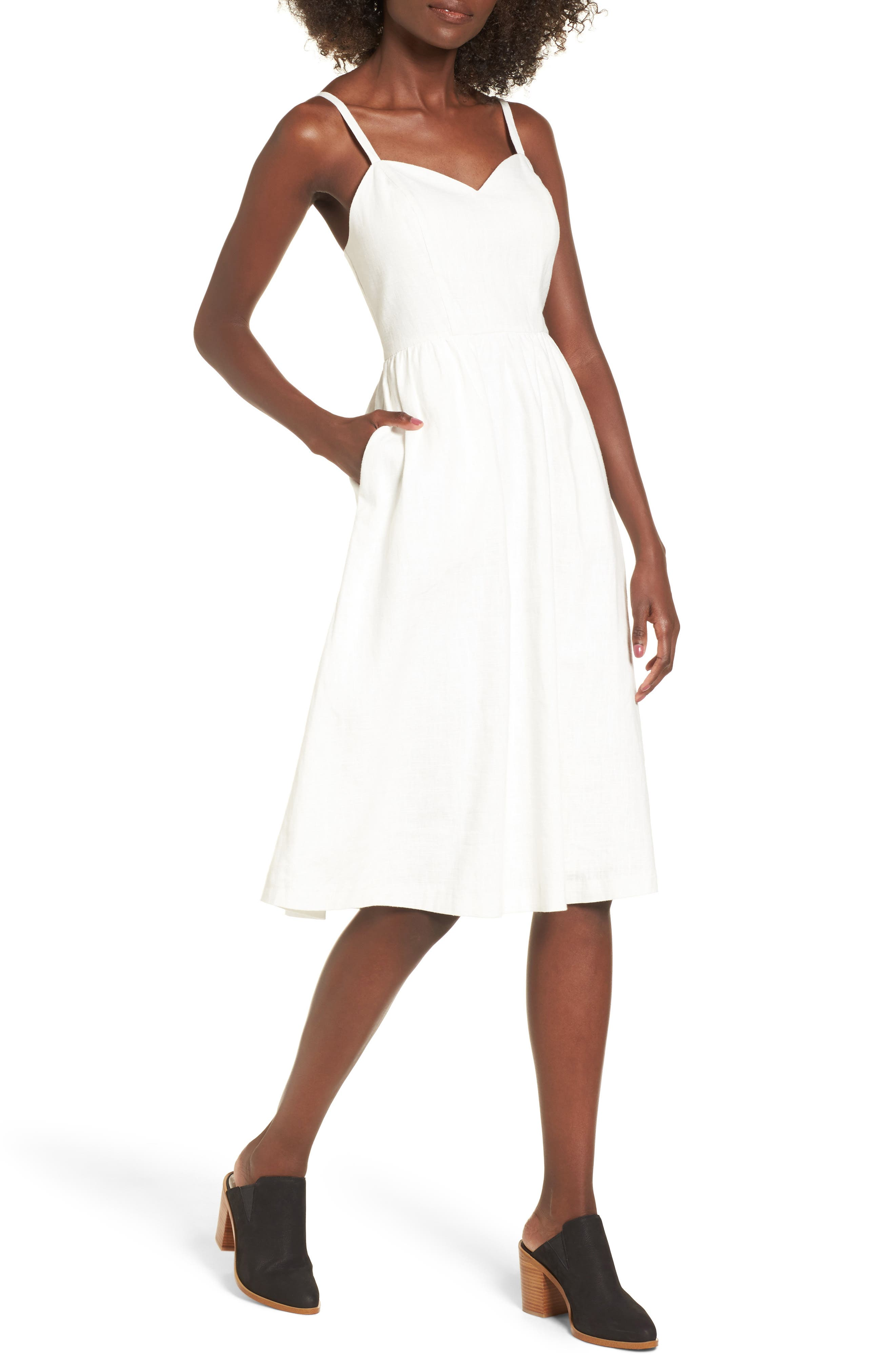 Cotton & Linen Ballerina Midi Dress,                             Main thumbnail 1, color,                             WHITE