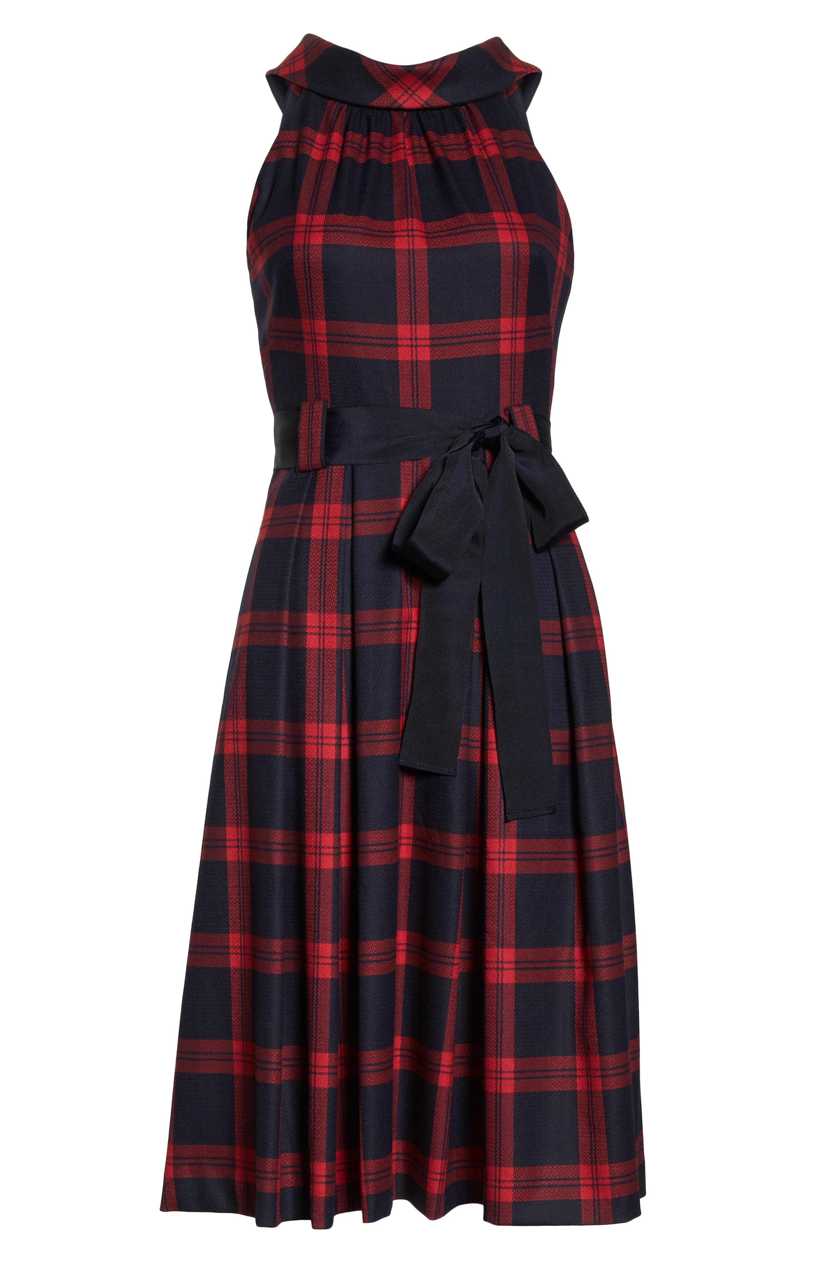 Jacquard Fit & Flare Dress,                             Alternate thumbnail 7, color,                             RED- NAVY PLAID