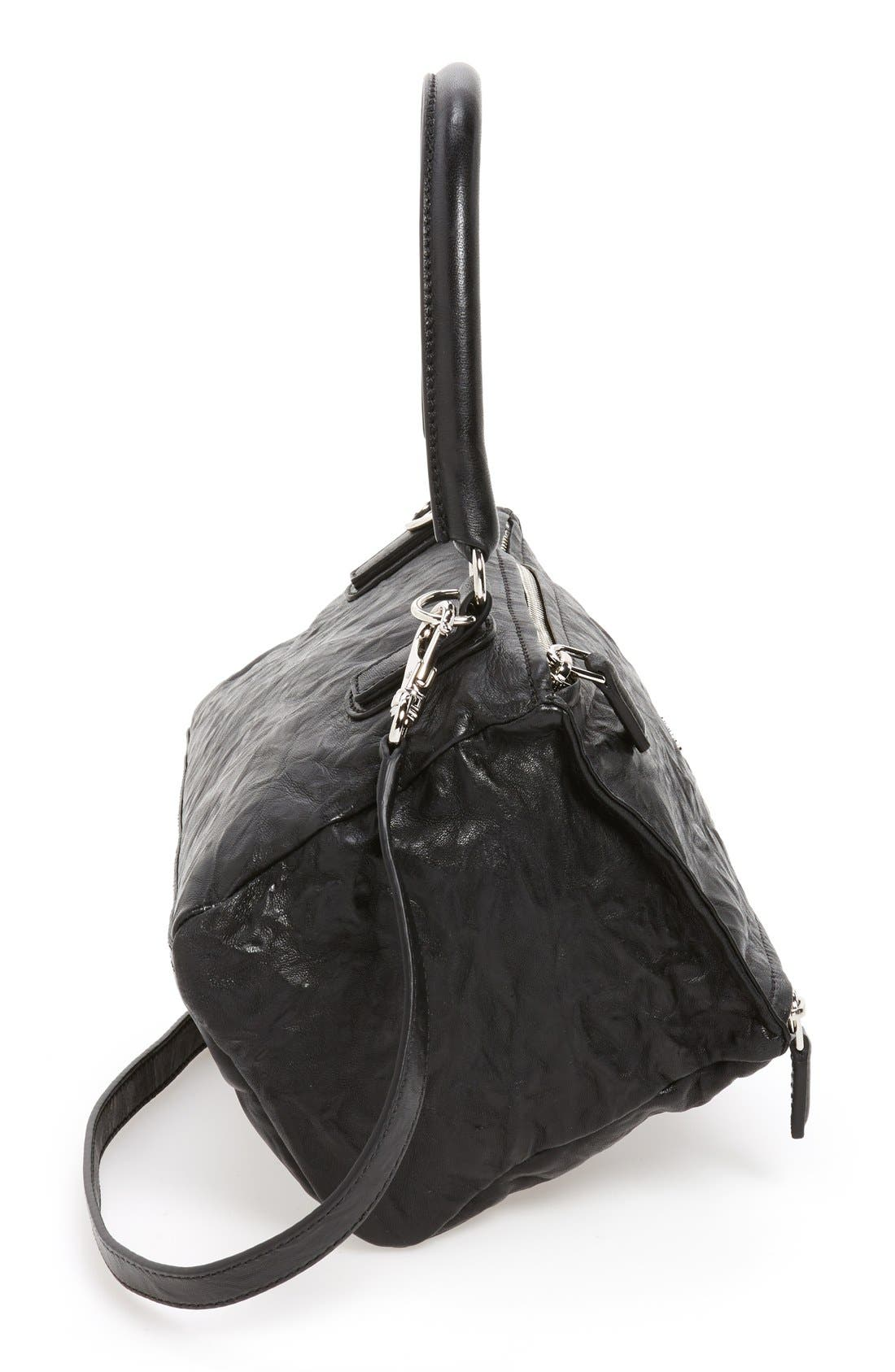 'Small Pepe Pandora' Leather Shoulder Bag,                             Alternate thumbnail 4, color,                             BLACK
