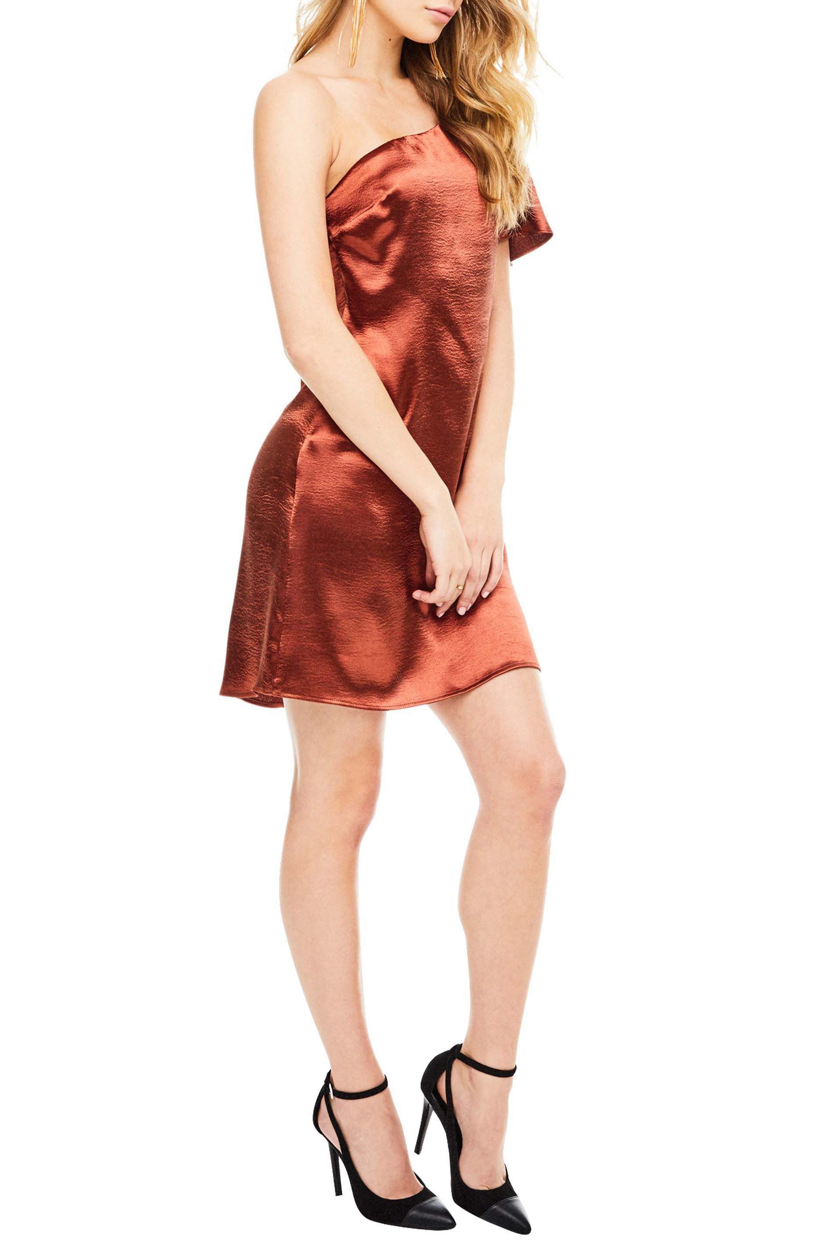 Crystalyn One Shoulder Minidress,                             Alternate thumbnail 3, color,                             200