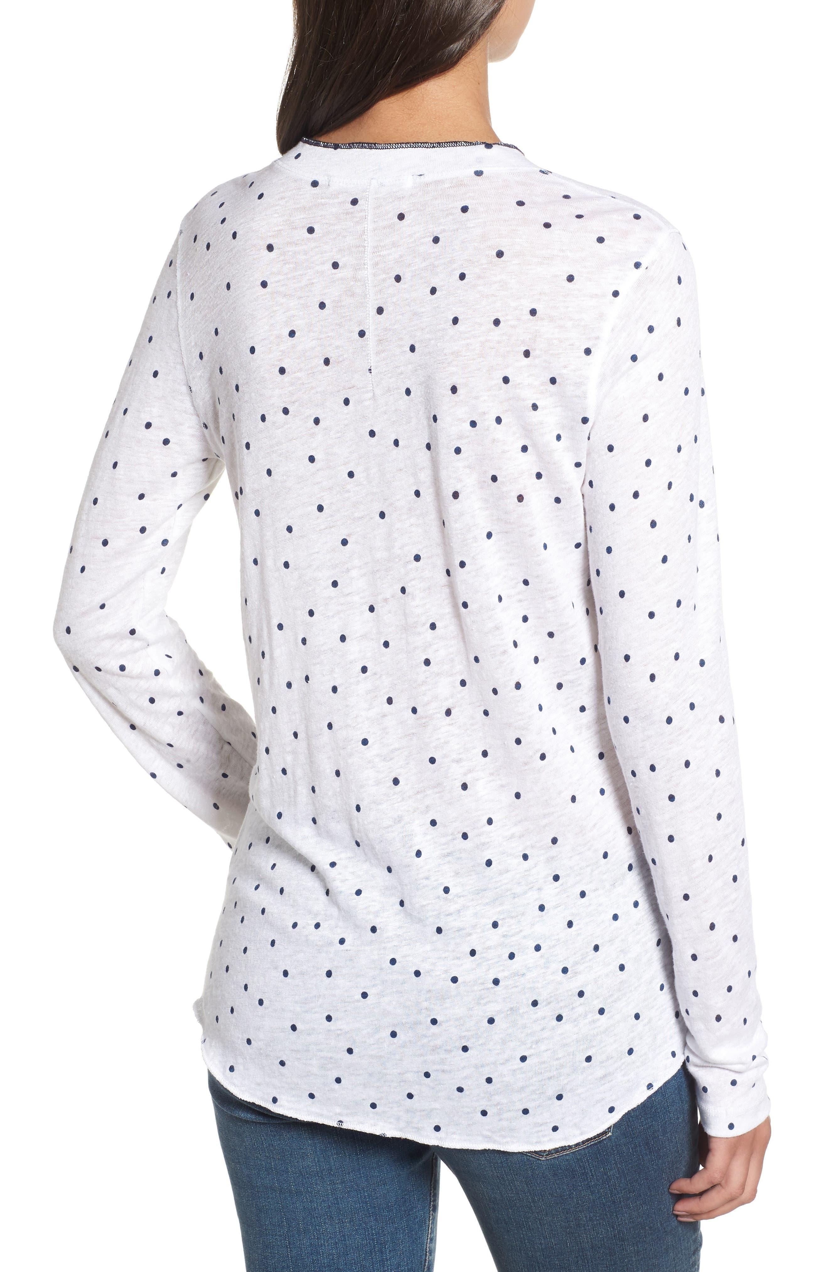 Dot Linen Henley Shirt,                             Alternate thumbnail 2, color,                             410