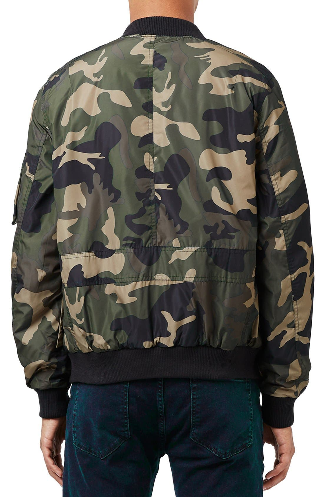 Camo Print MA-1 Bomber Jacket,                             Alternate thumbnail 5, color,                             300