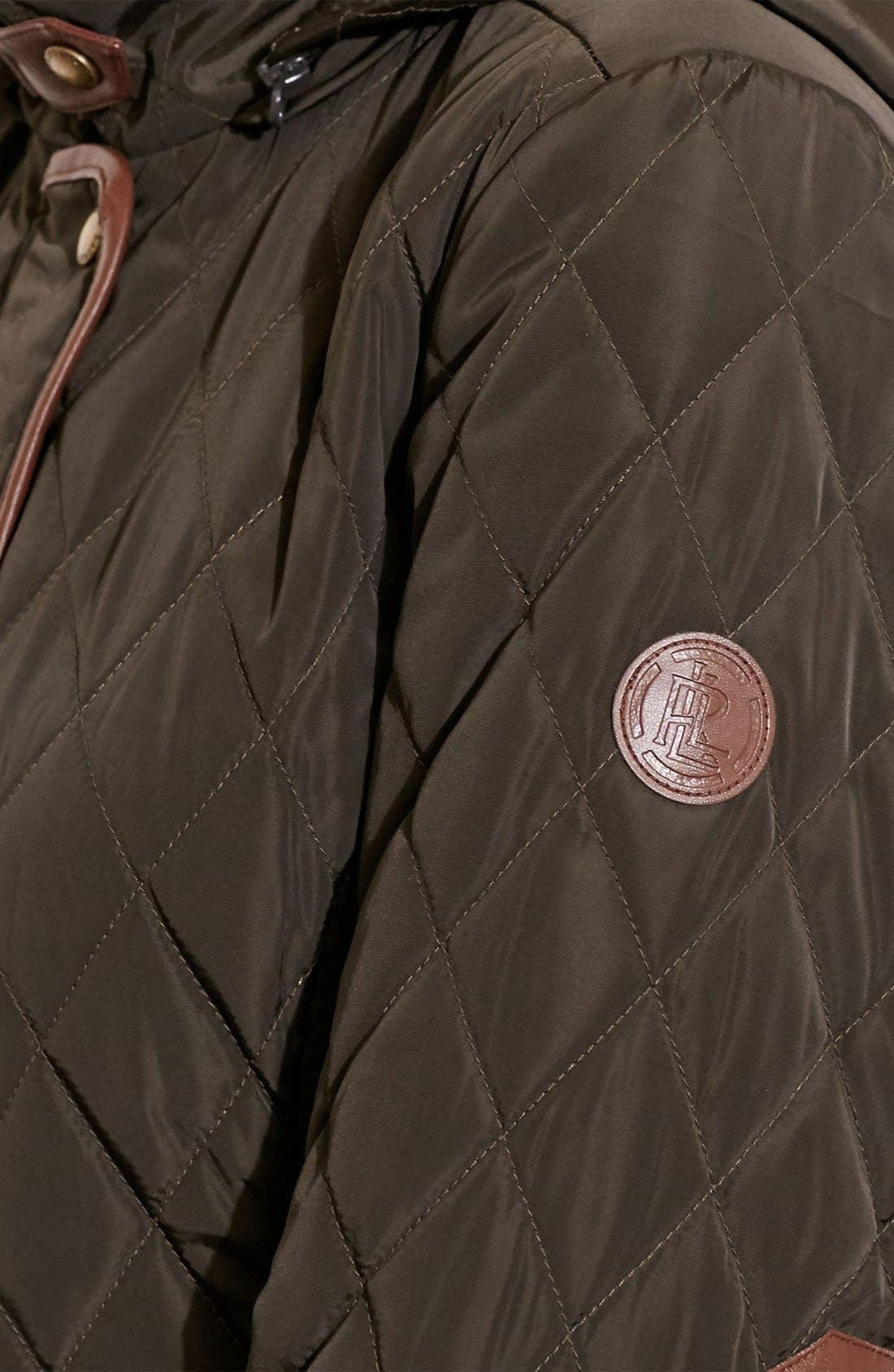 Diamond Quilted Coat with Faux Leather Trim,                             Alternate thumbnail 11, color,