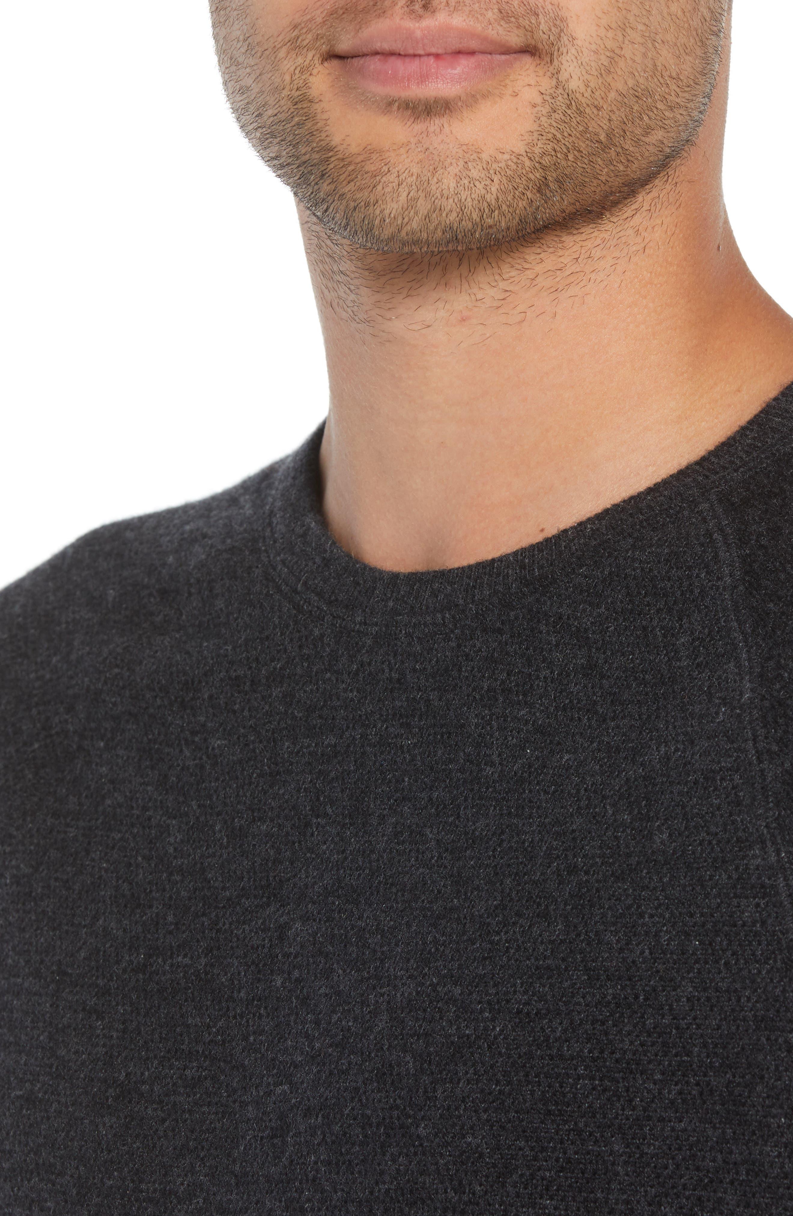 Bird's Eye Sweater,                             Alternate thumbnail 4, color,                             H CHARCOAL/ BLACK