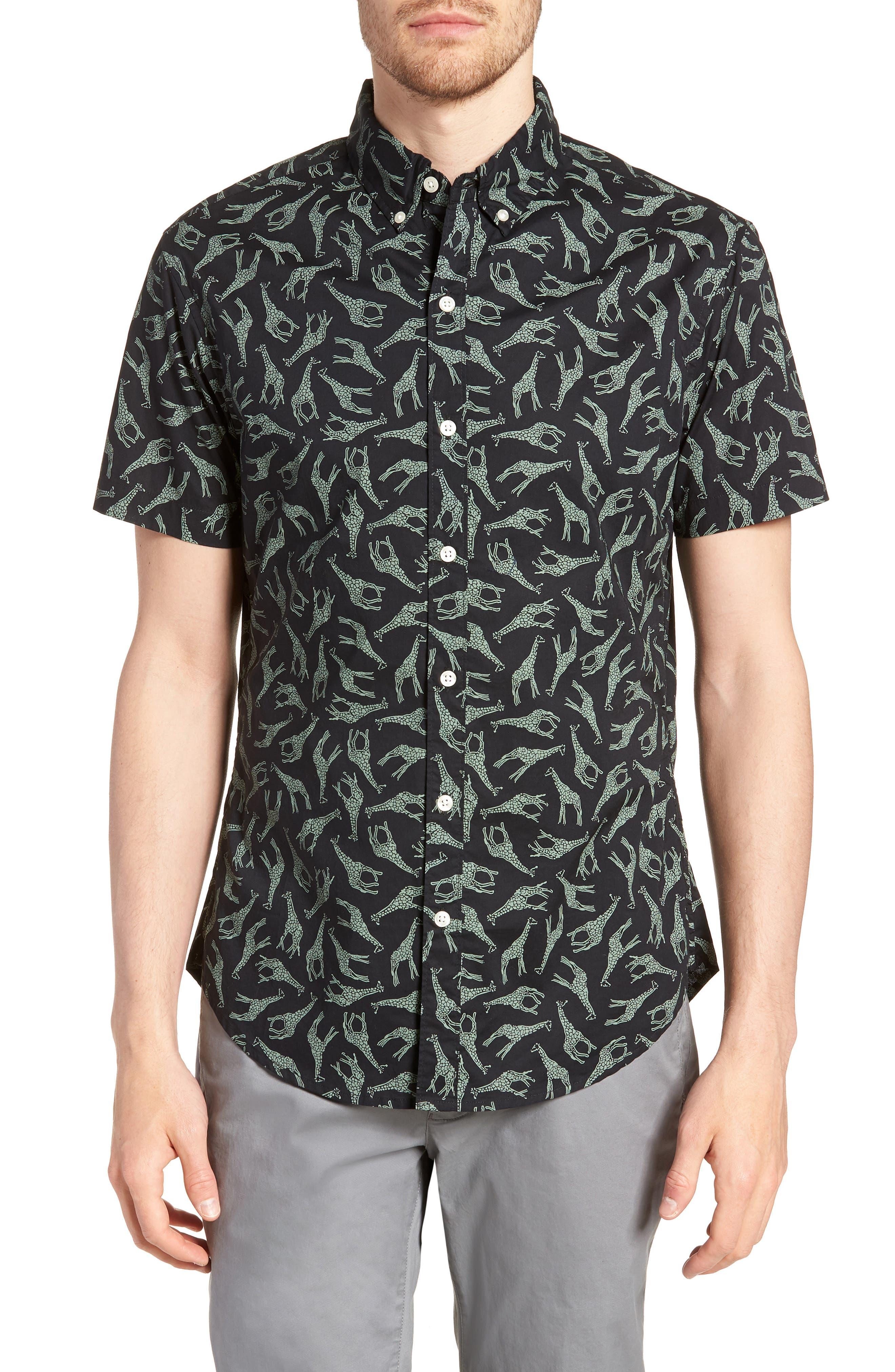BONOBOS Riviera Slim Fit Giraffe Print Sport Shirt, Main, color, 001