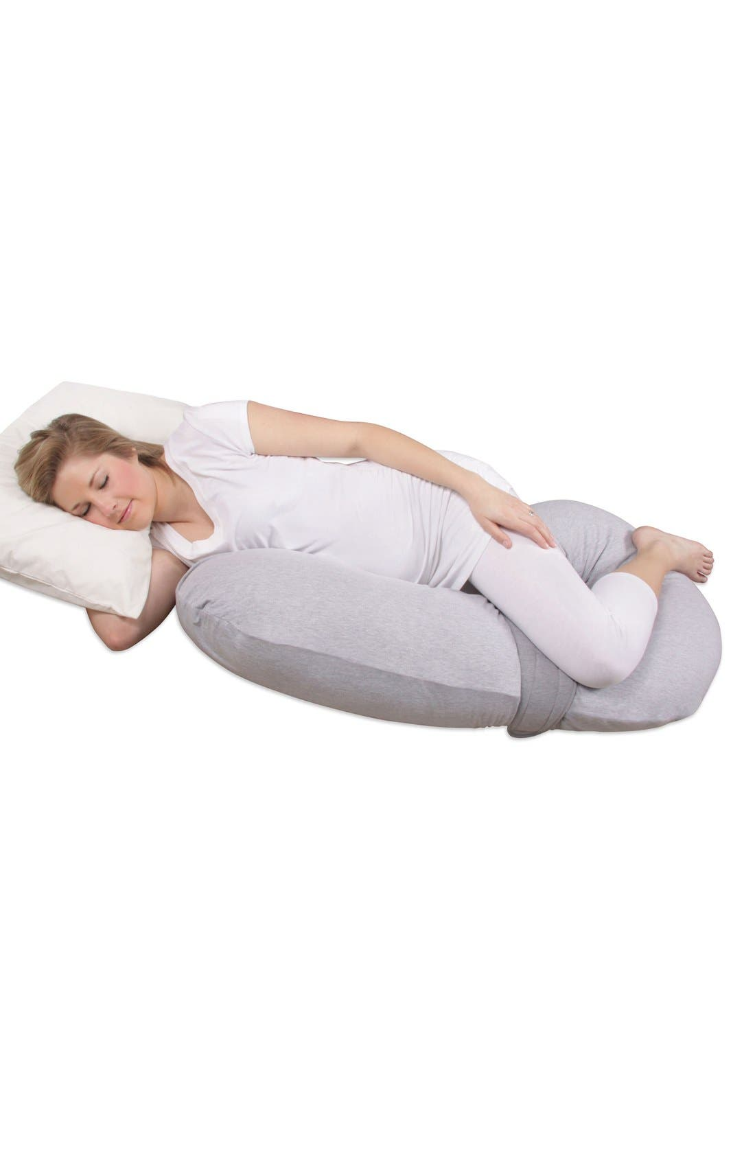 'Preggle<sup>®</sup> Chic - XL' Pregnancy Support Pillow with Jersey Cover,                             Alternate thumbnail 2, color,                             HEATHER GREY