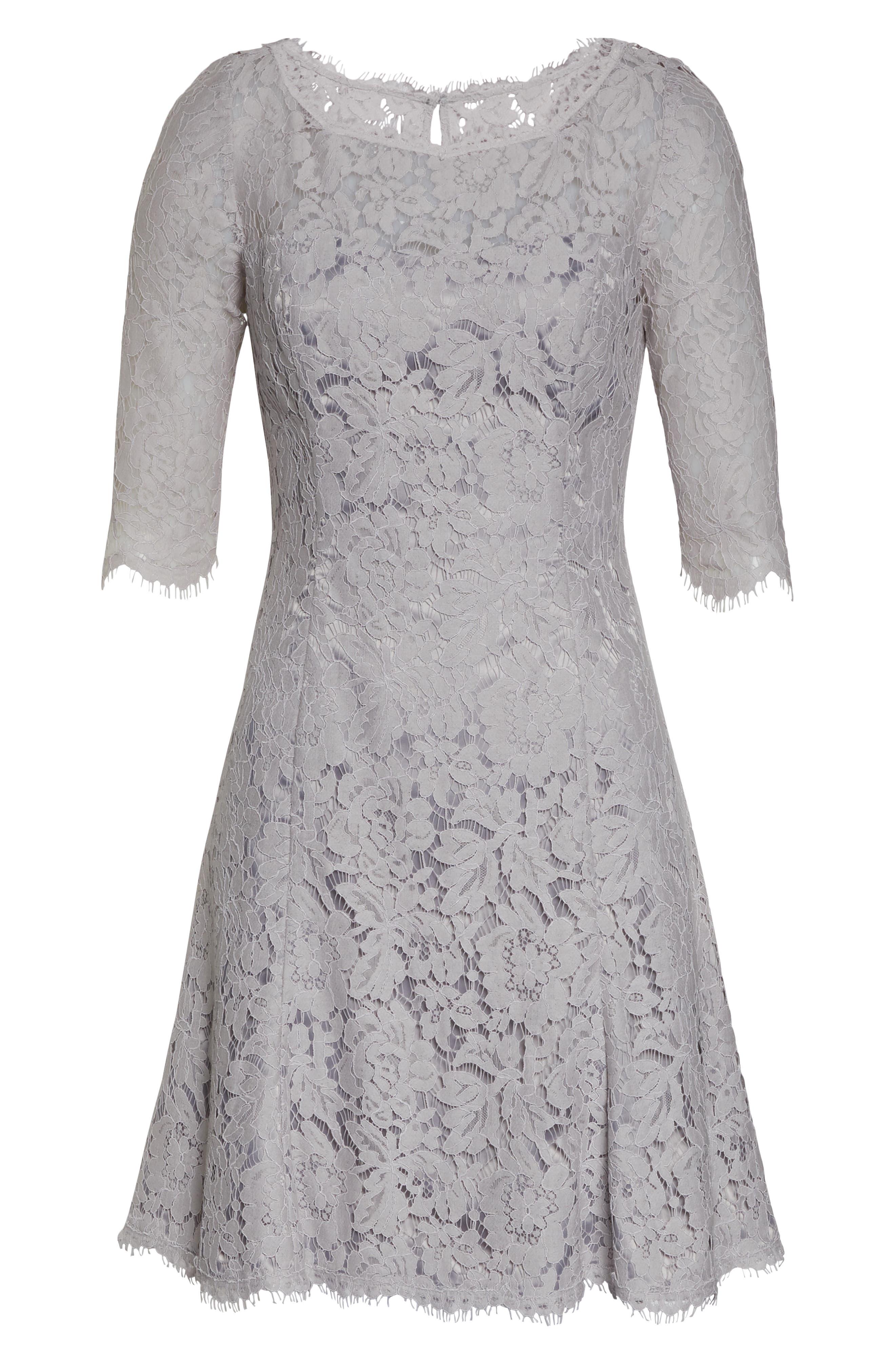 ELIZA J,                             Lace Fit & Flare Cocktail Dress,                             Alternate thumbnail 8, color,                             GREY