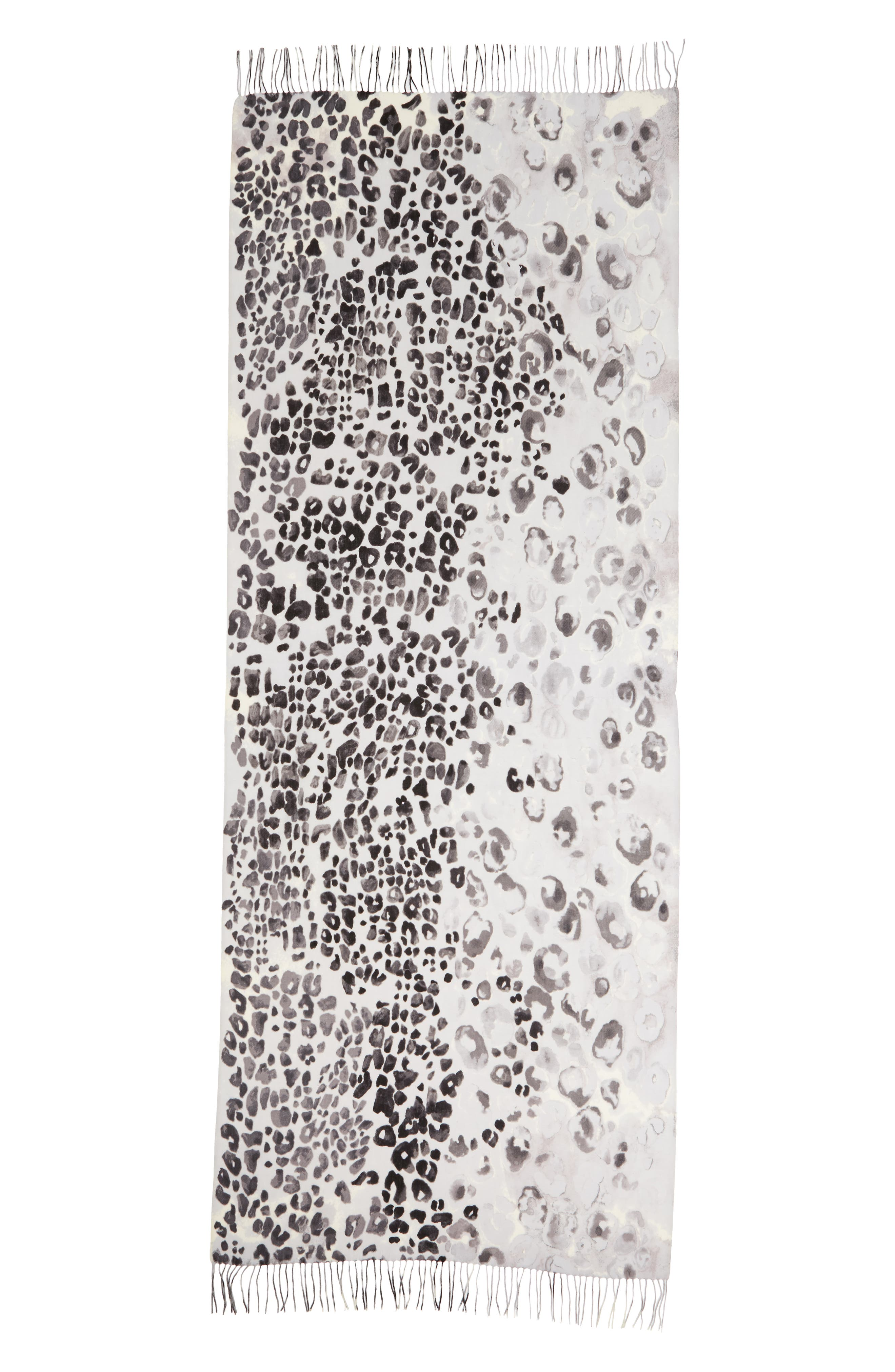 Tissue Print Wool & Cashmere Wrap Scarf,                             Alternate thumbnail 3, color,                             001