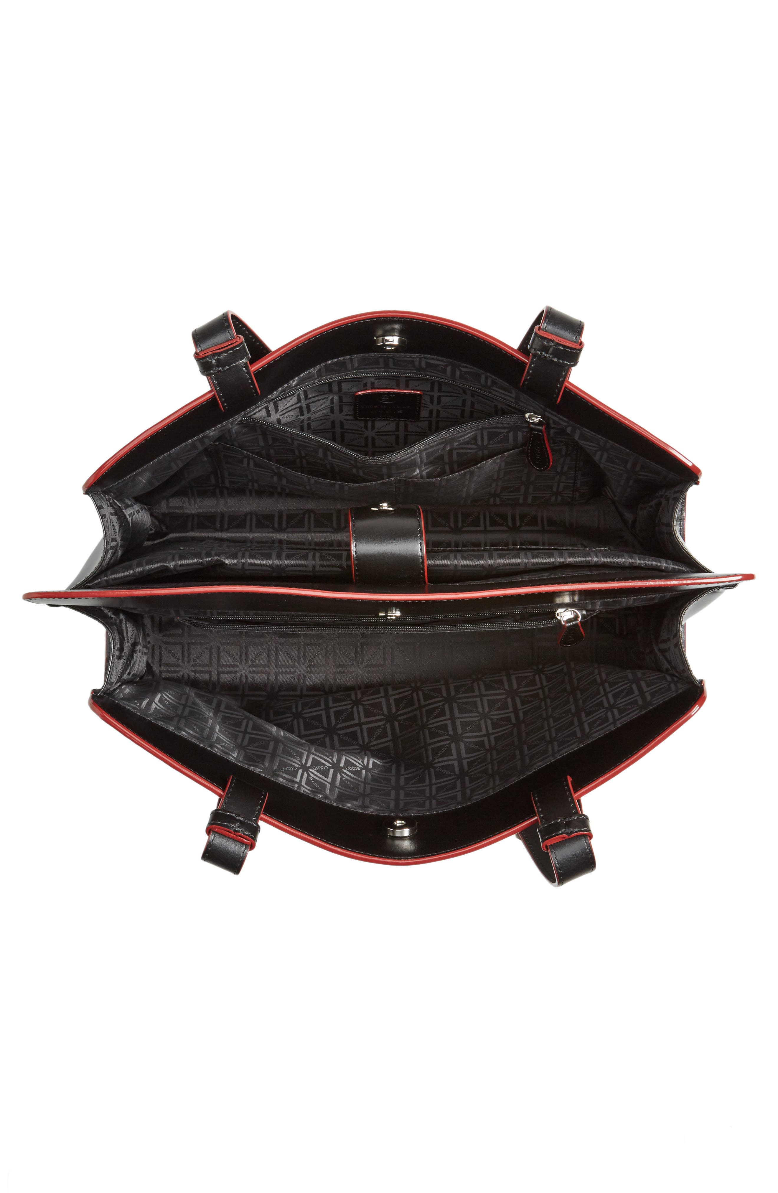 Audrey Under Lock & Key - Jana RFID Leather Tote,                             Alternate thumbnail 4, color,                             BLACK