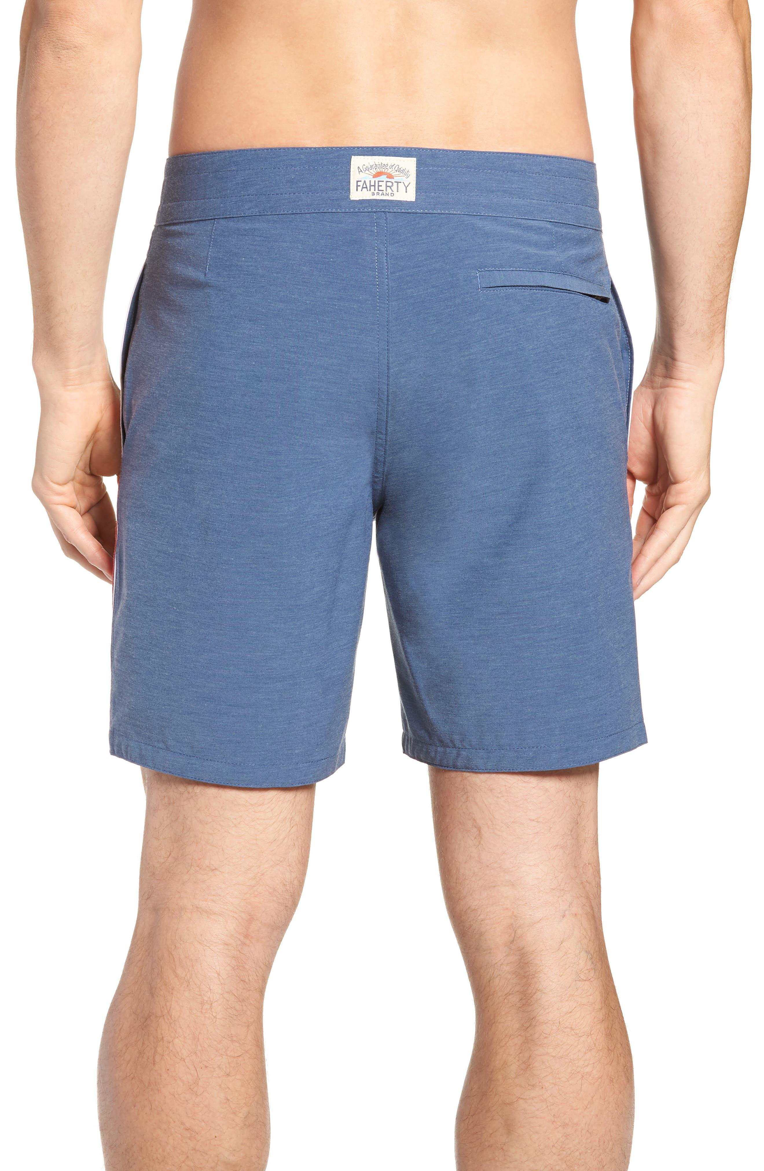 Retro Surf Stripe Board Shorts,                             Alternate thumbnail 2, color,                             BLUE RED WHITE
